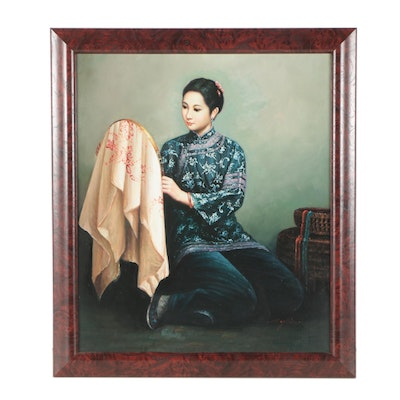 Minghin Oil Painting of a Woman Sewing