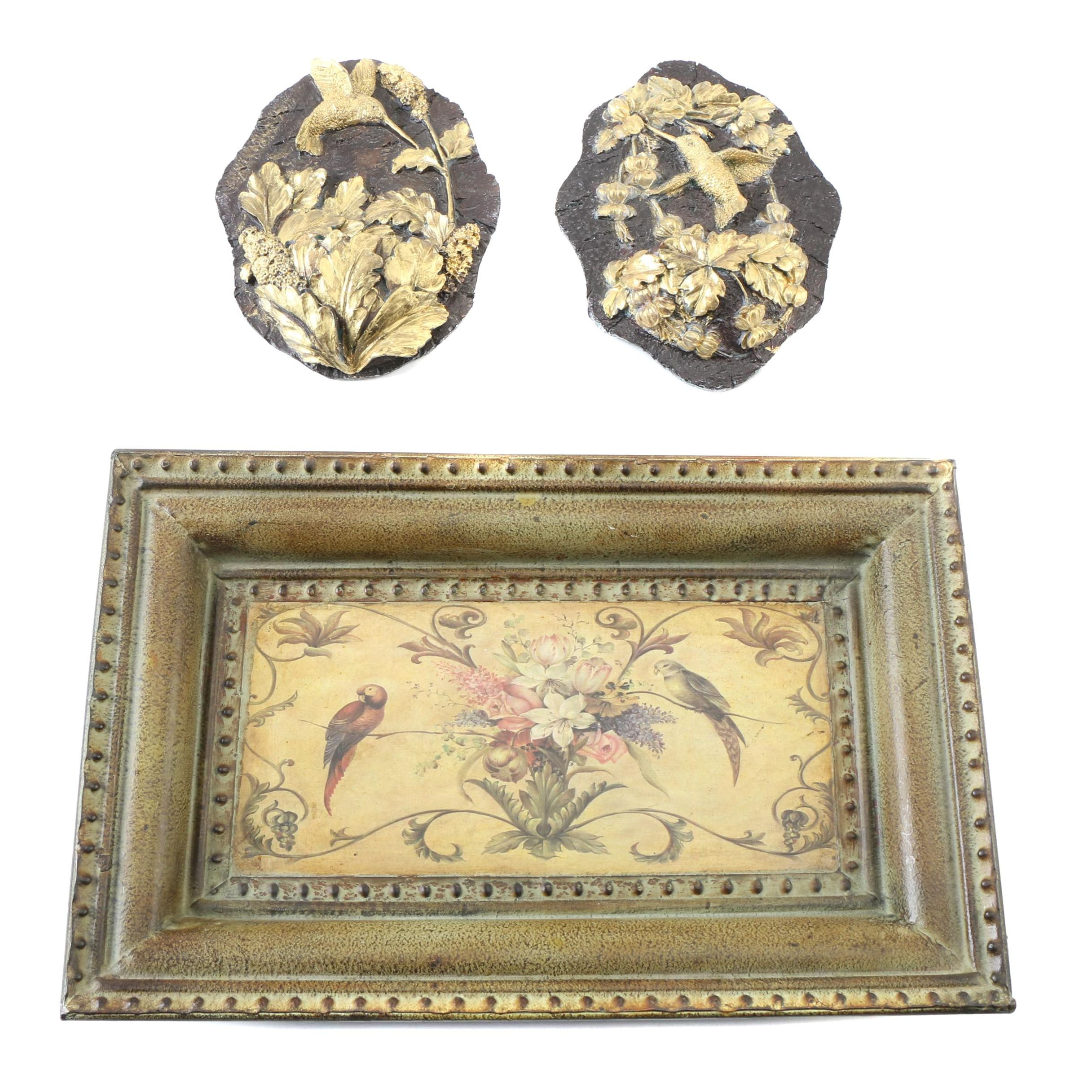 Hummingbird Plaques with a Framed Floral Scene