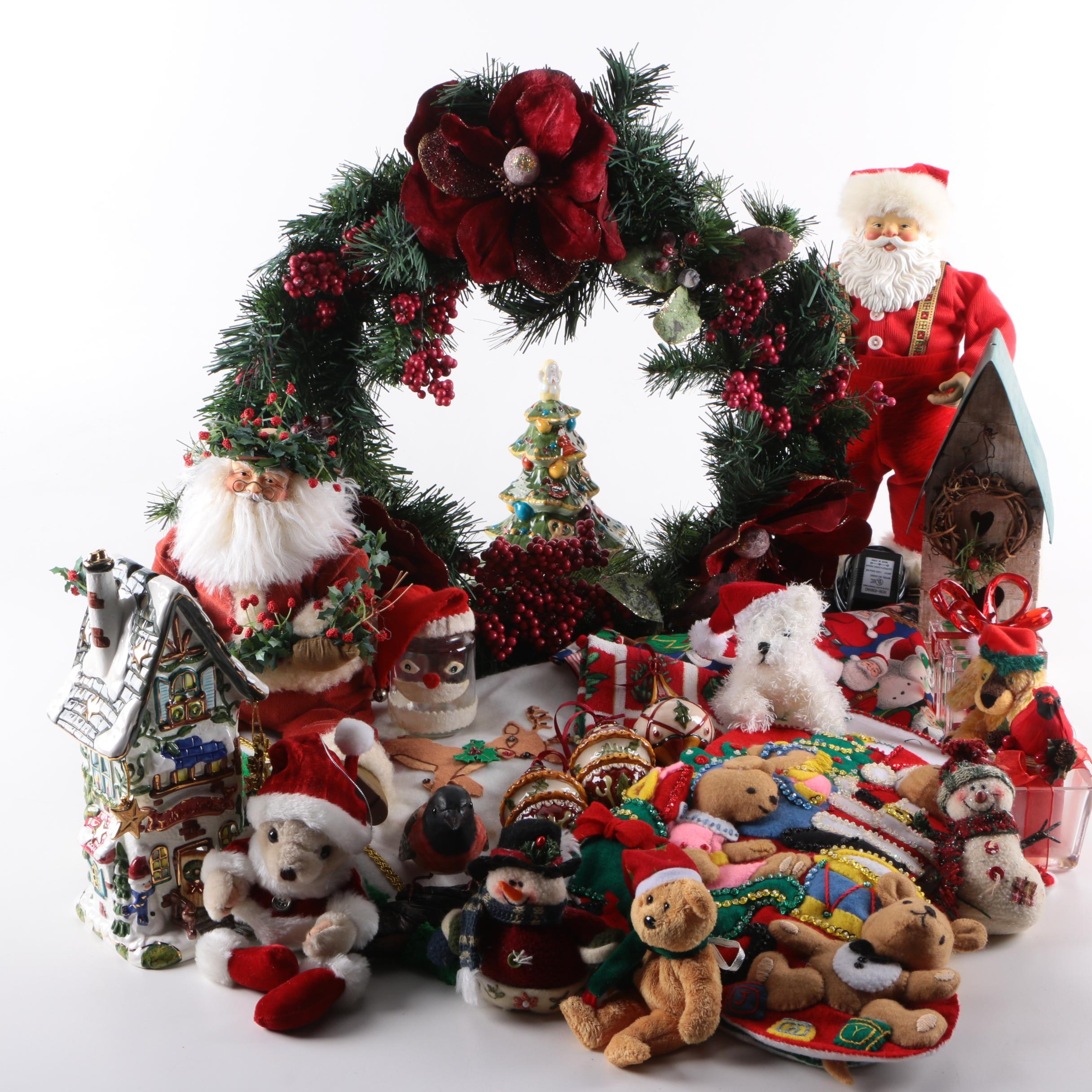 Christmas Wreath, Stockings, Ornaments, and Plush Toys