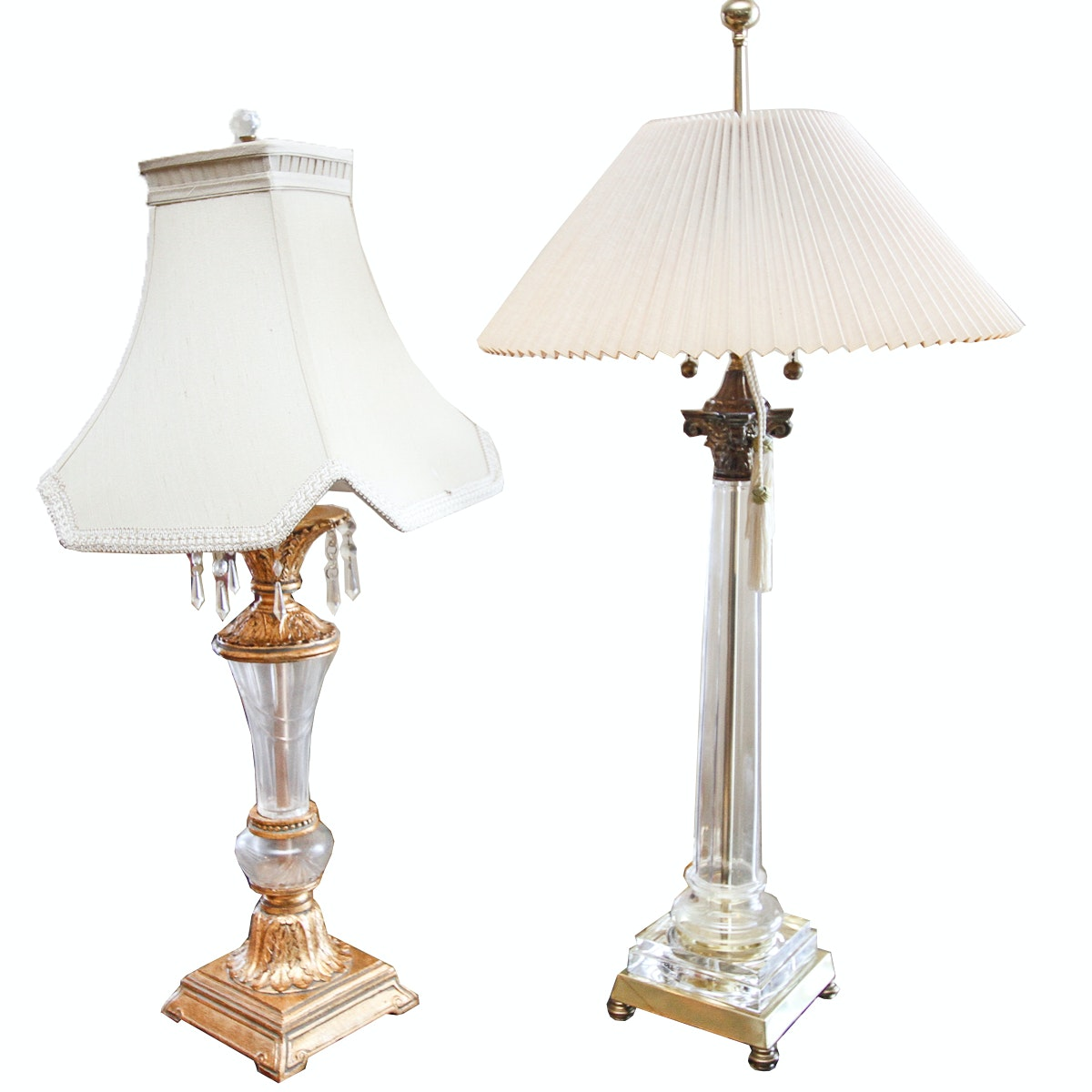 Neoclassical Style Glass Table Lamps