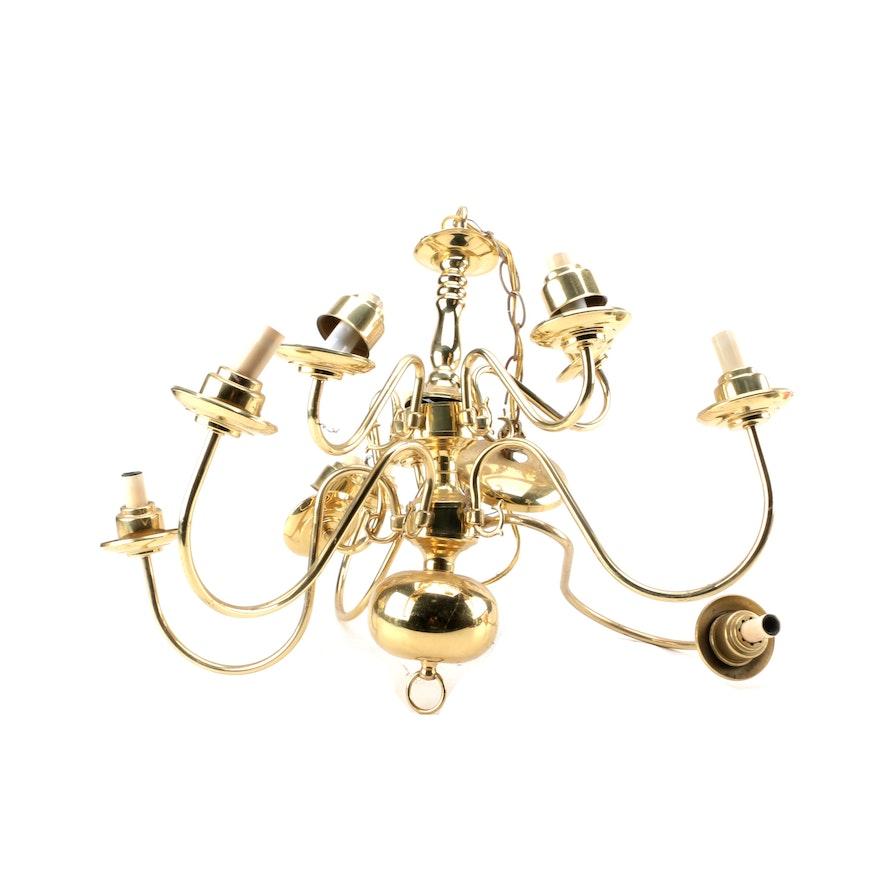 Georgian Chandelier: Georgian Style Brass Chandelier
