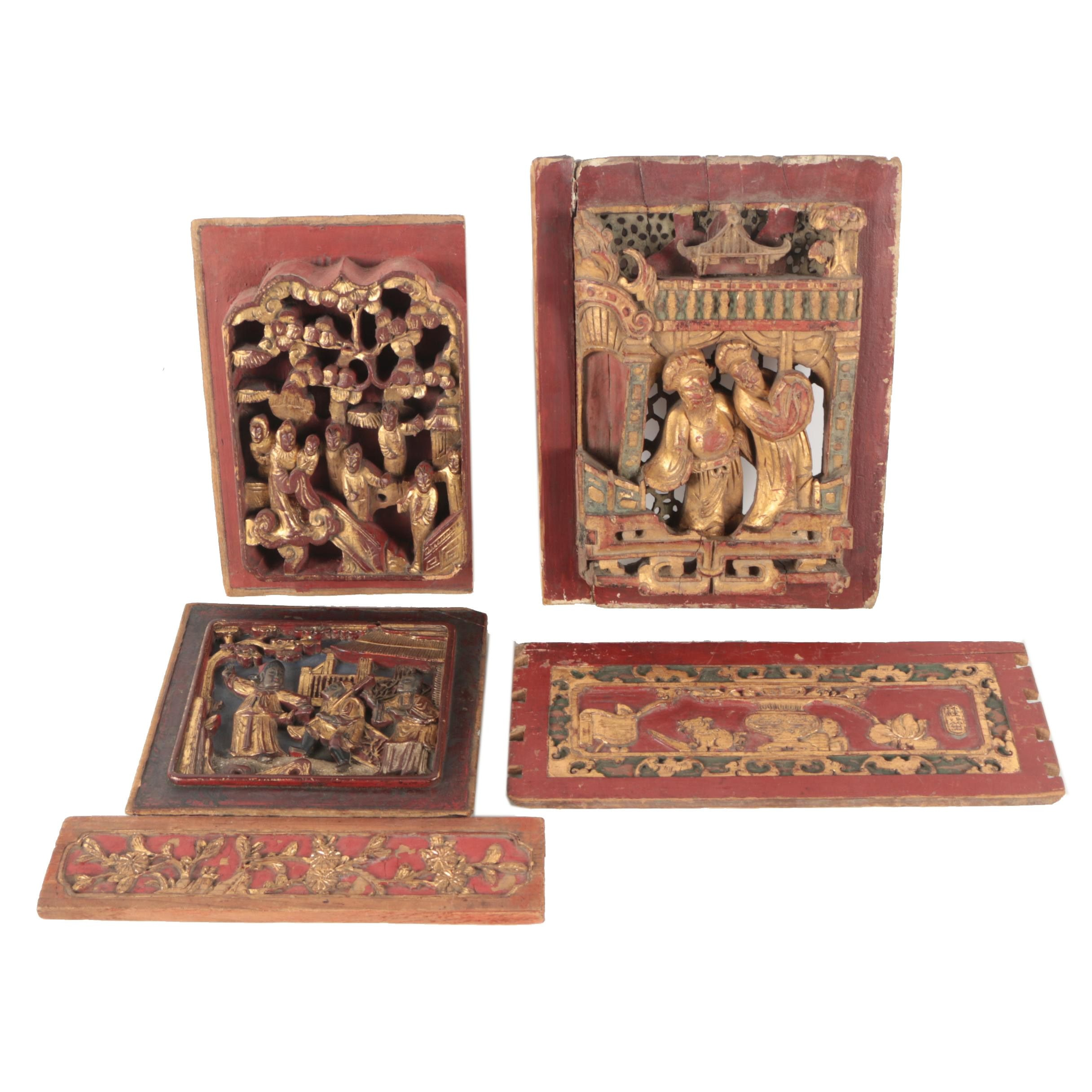 Chinese Polychrome and Gilt Wood Carvings and Architectural Fragments