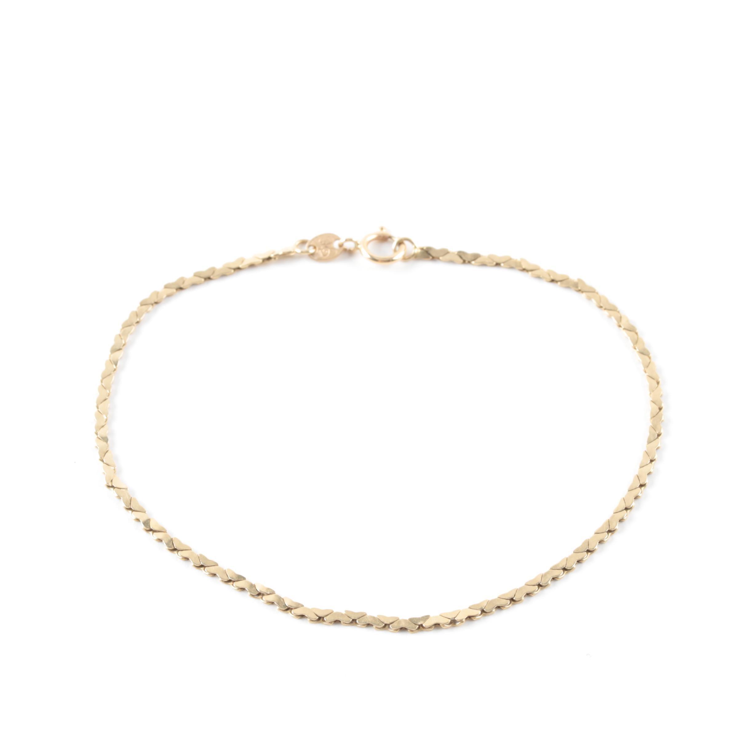 14K Yellow Gold Cobra Chain Bracelet