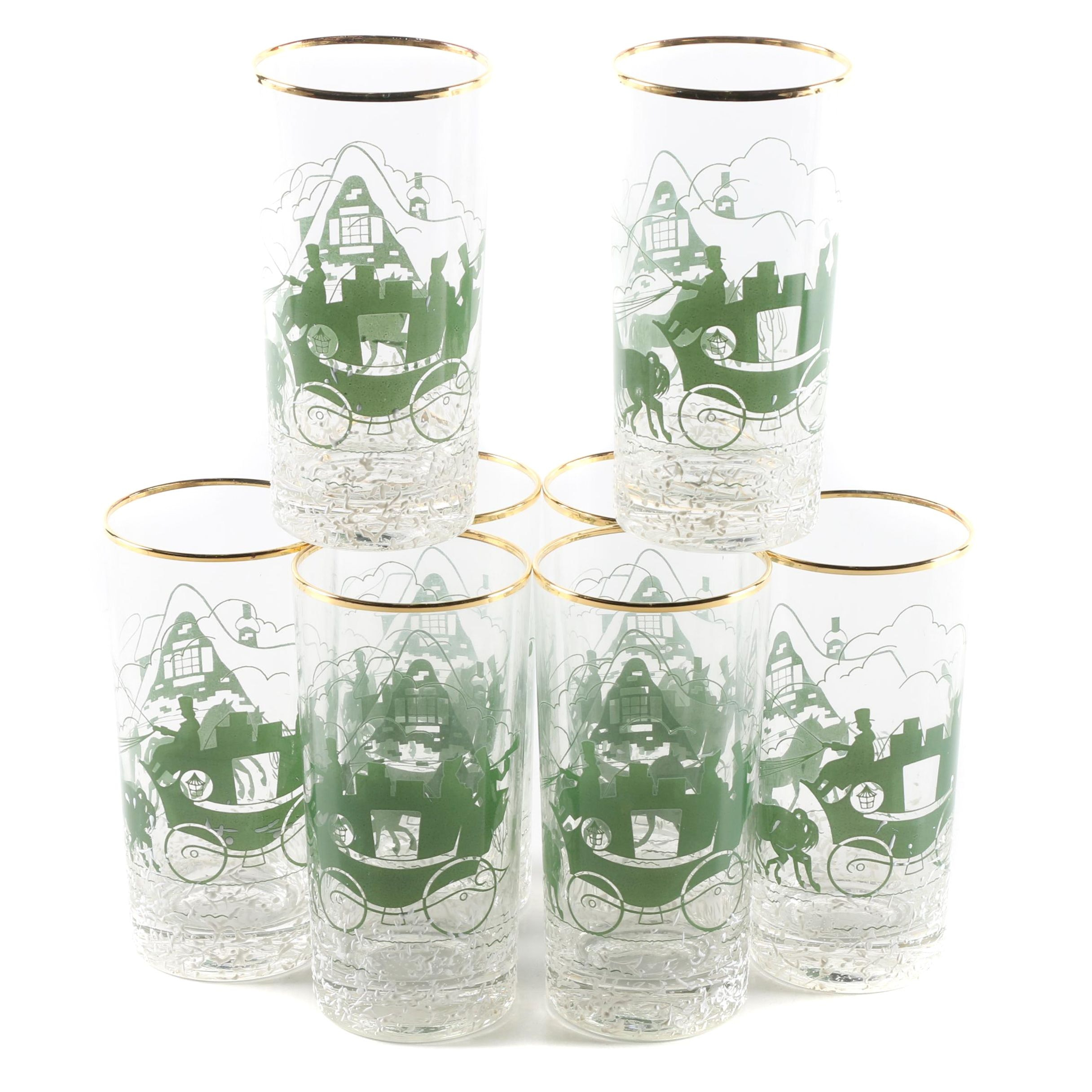 Set of Vintage Dickensian Printed Glass Tumblers