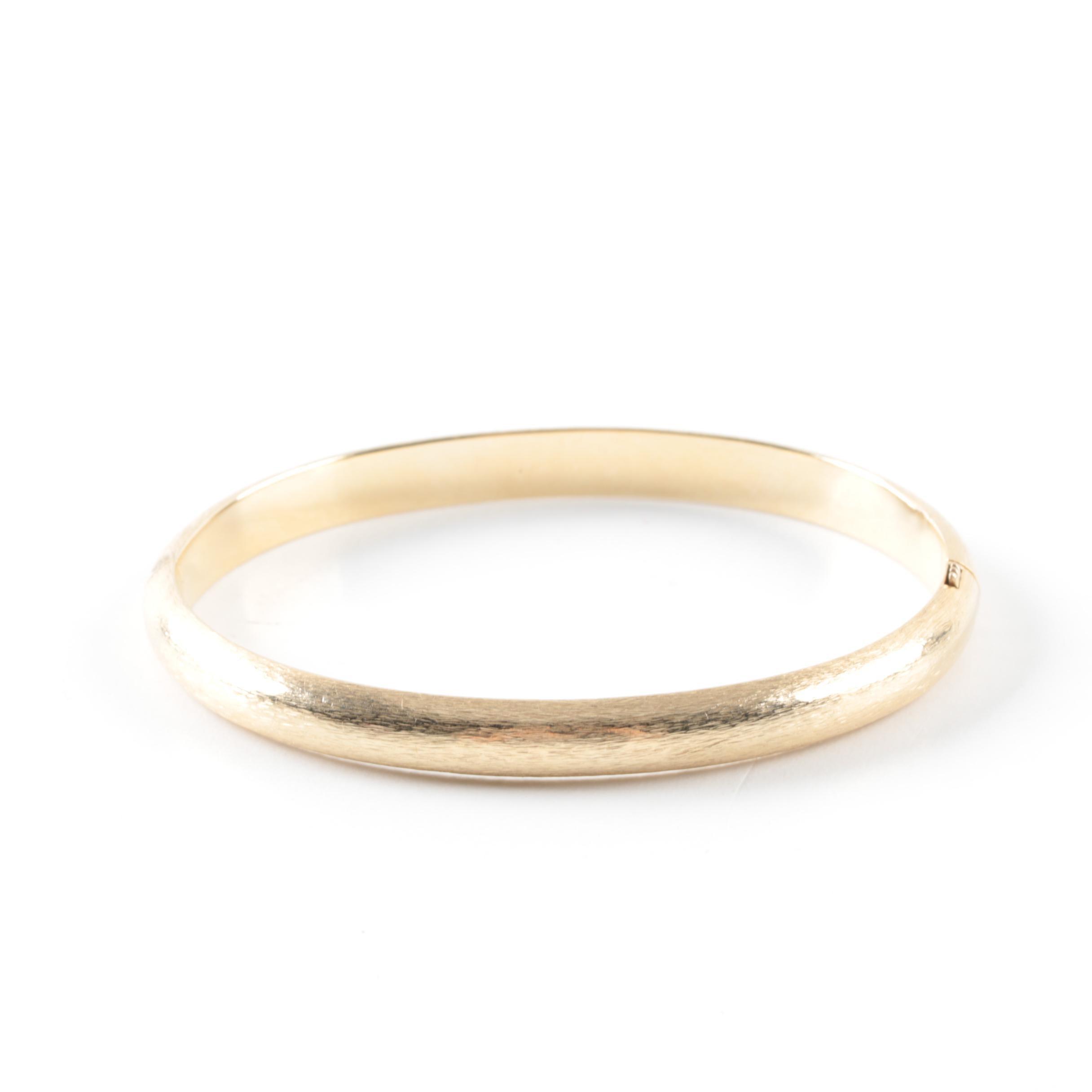 14K Yellow Gold Brushed Bangle Bracelet