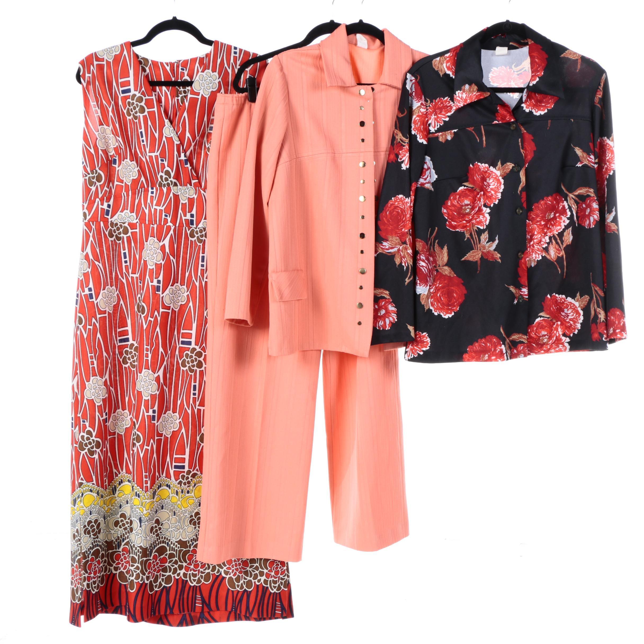 Women's Vintage Pantsuit, Button-Front Shirt and Dress