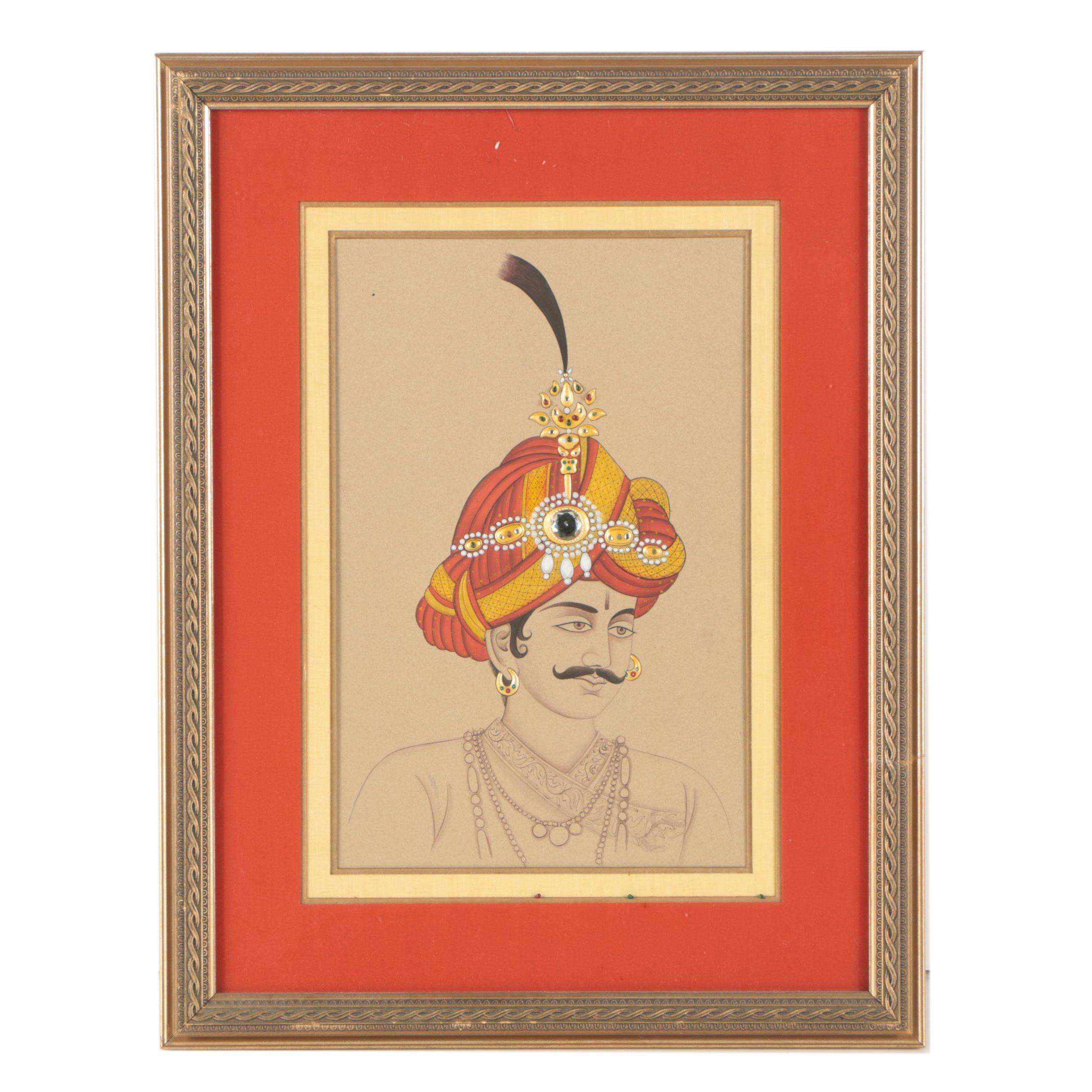 Embellished Gouache Portrait of a Man