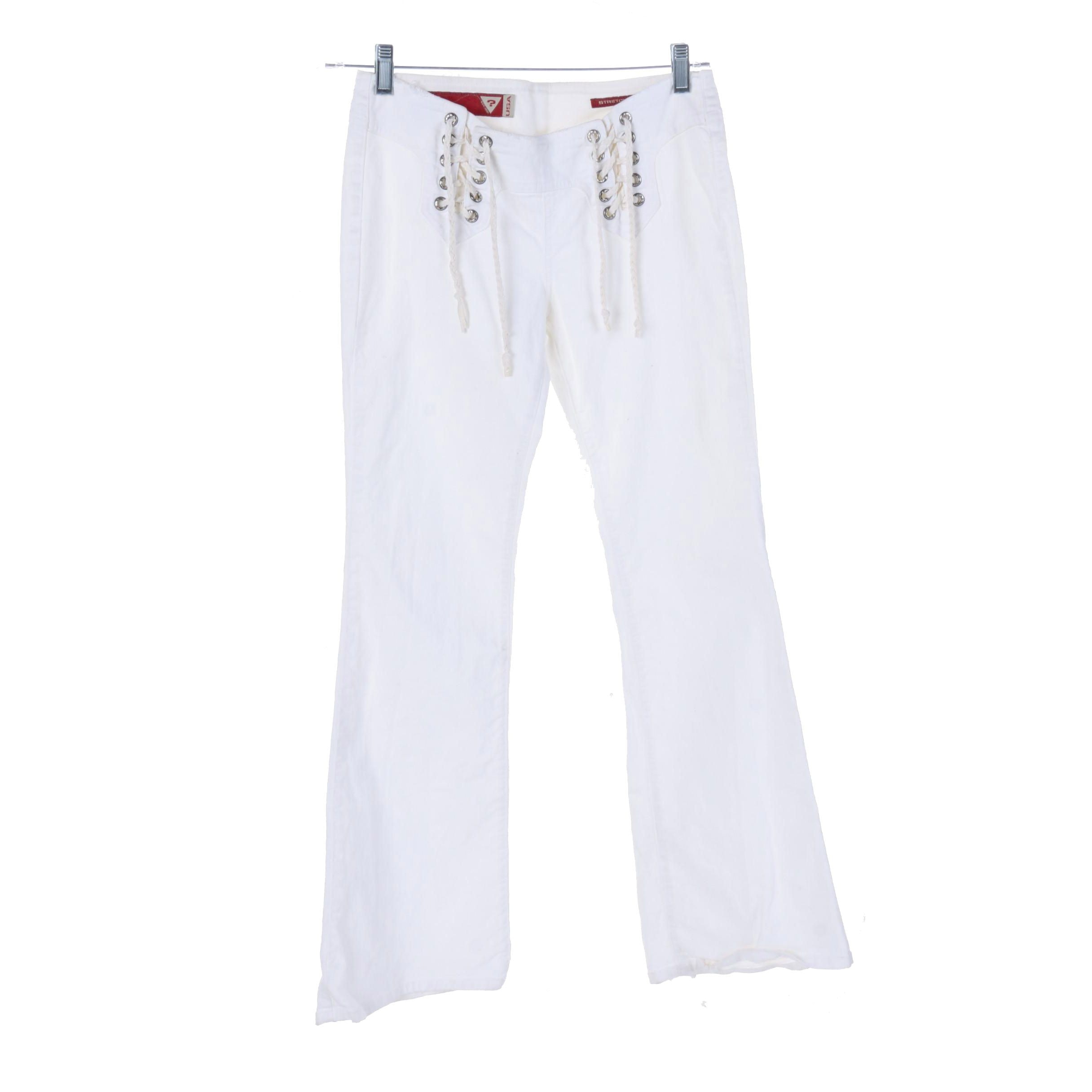 Guess Double Lace-Up White Stretch Denim