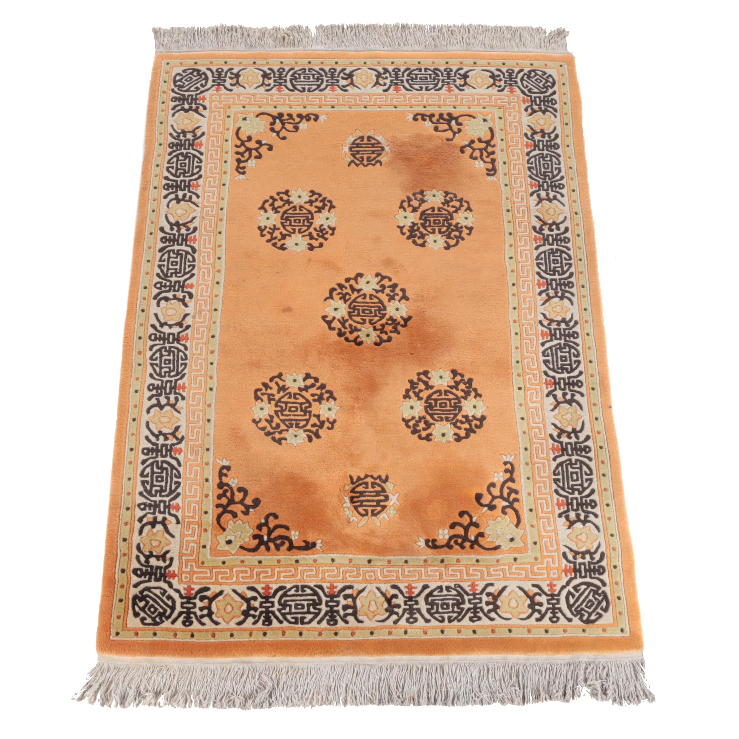 Hand-Knotted Chinese Carved Wool Area Rug with Longevity Symbols