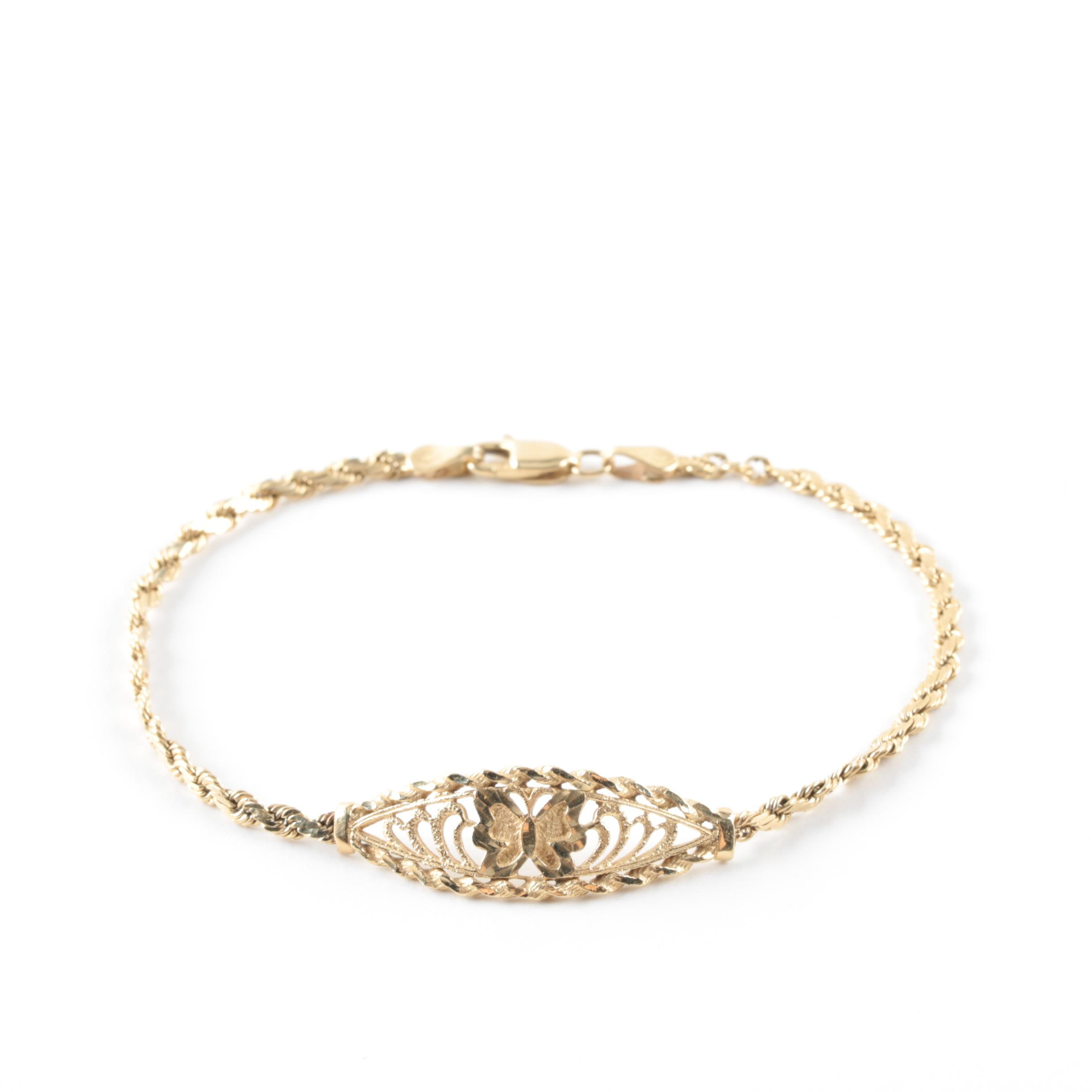 14K Yellow Gold Butterfly Bracelet