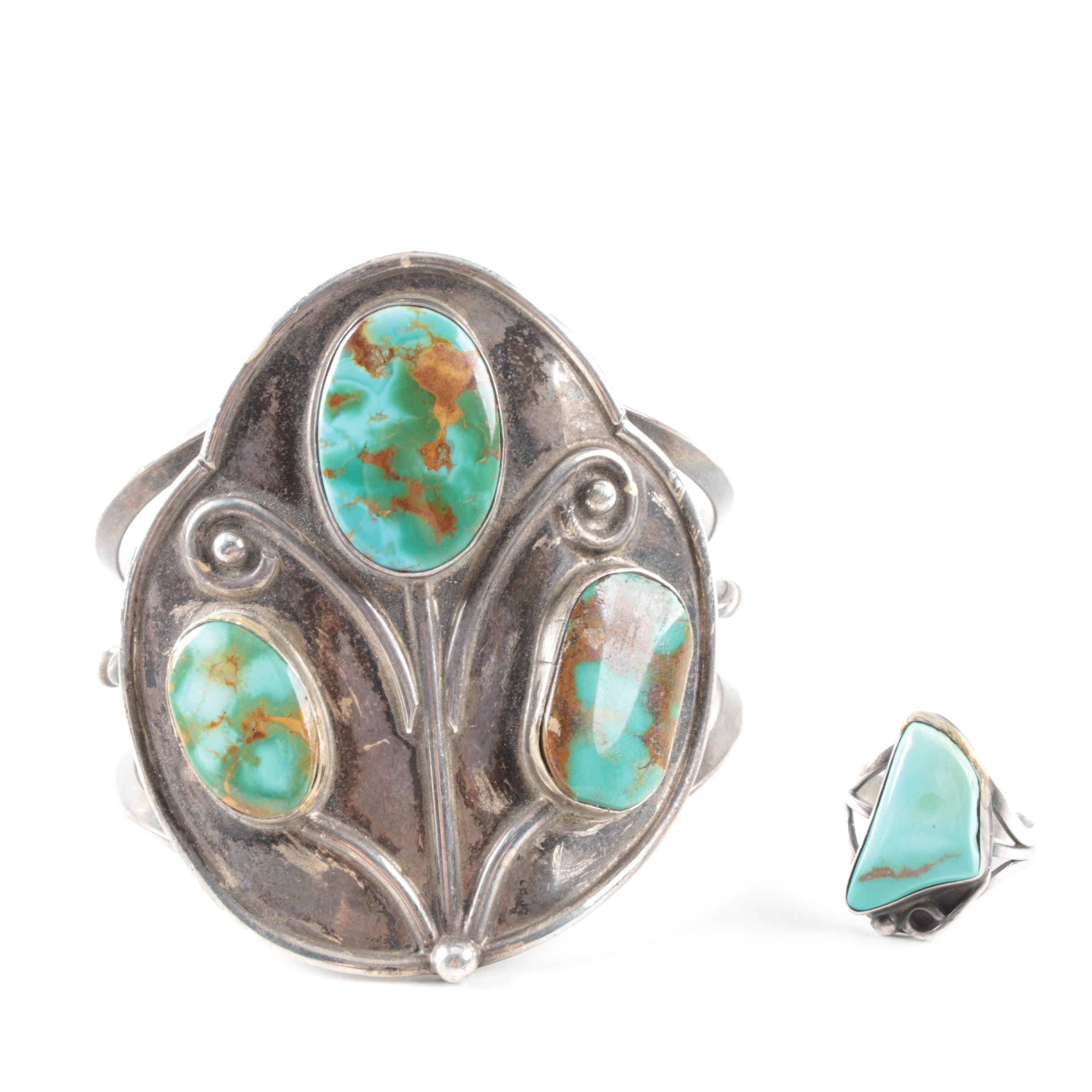 Sterling Silver Southwestern Style Turquoise Cuff Bracelet and Ring