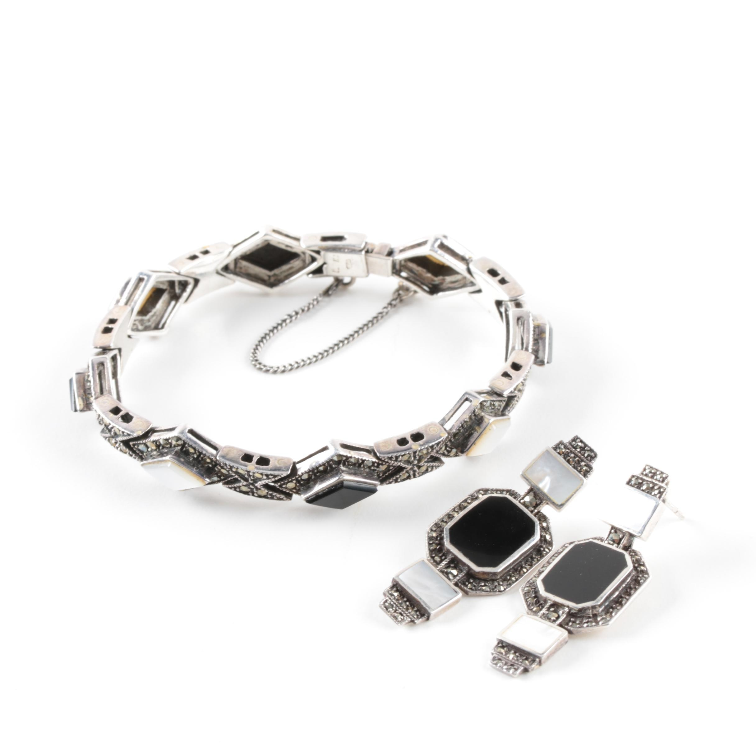 Sterling Silver Black Onyx, Mother of Pearl, and Marcasite Bracelet and Earrings