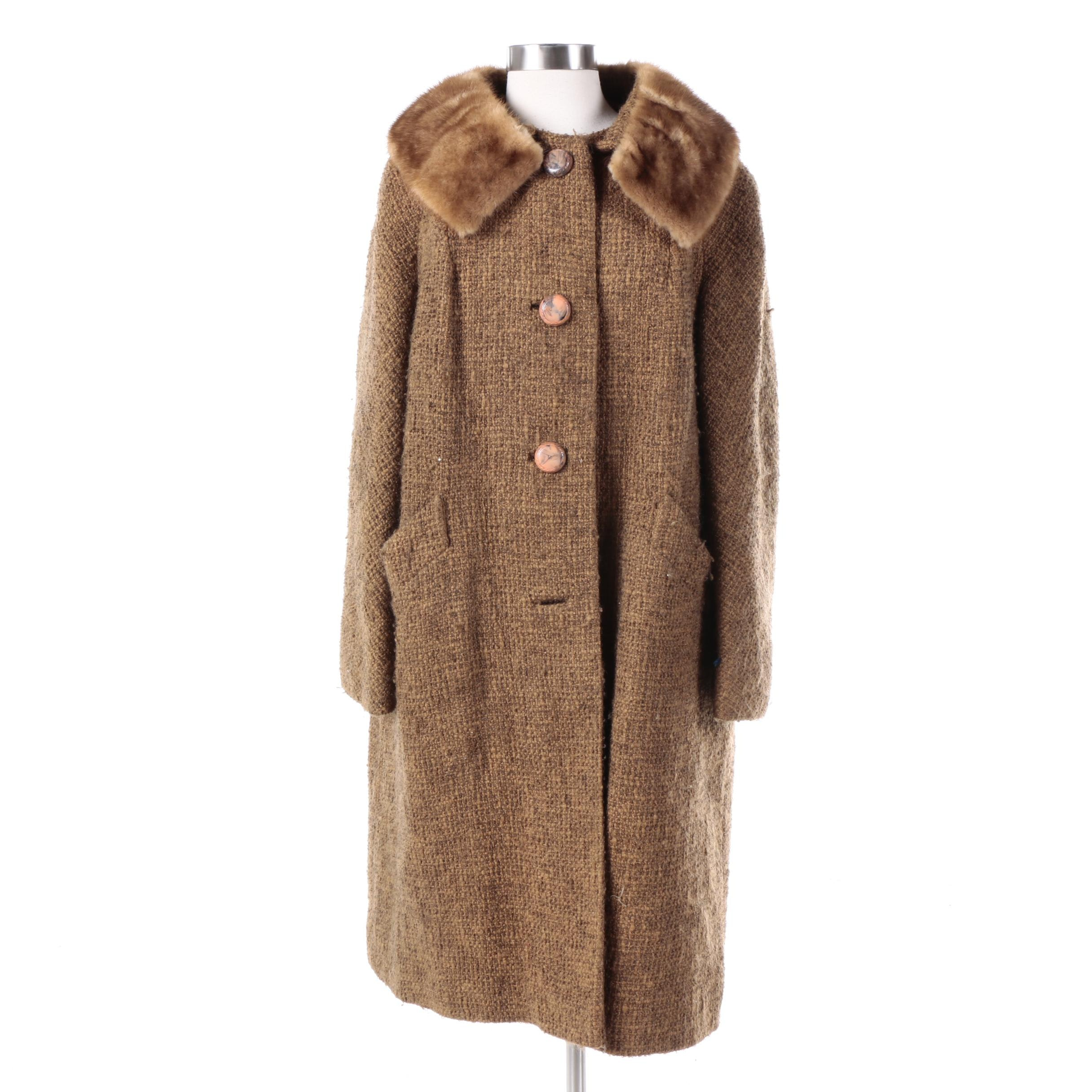 Women's Vintage Petersen's Wool Overcoat with Mink Fur Collar