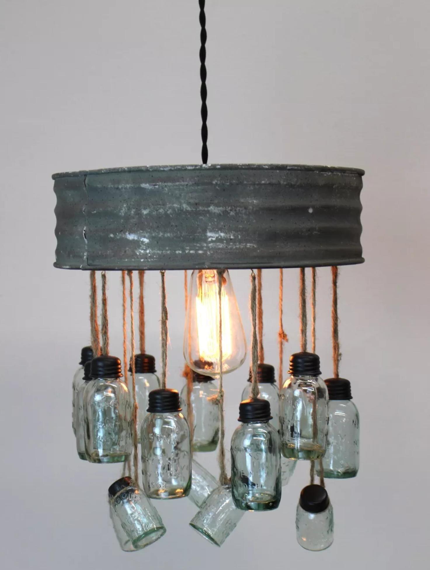 Rustic Style Mason Jar Chandelier
