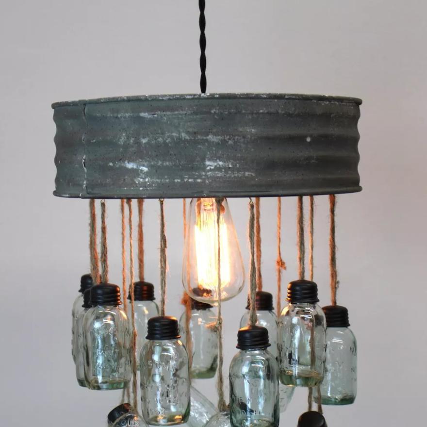 Rustic Industrial Lighting Chandelier Mason Jar Chandelier: Rustic Style Mason Jar Chandelier : EBTH