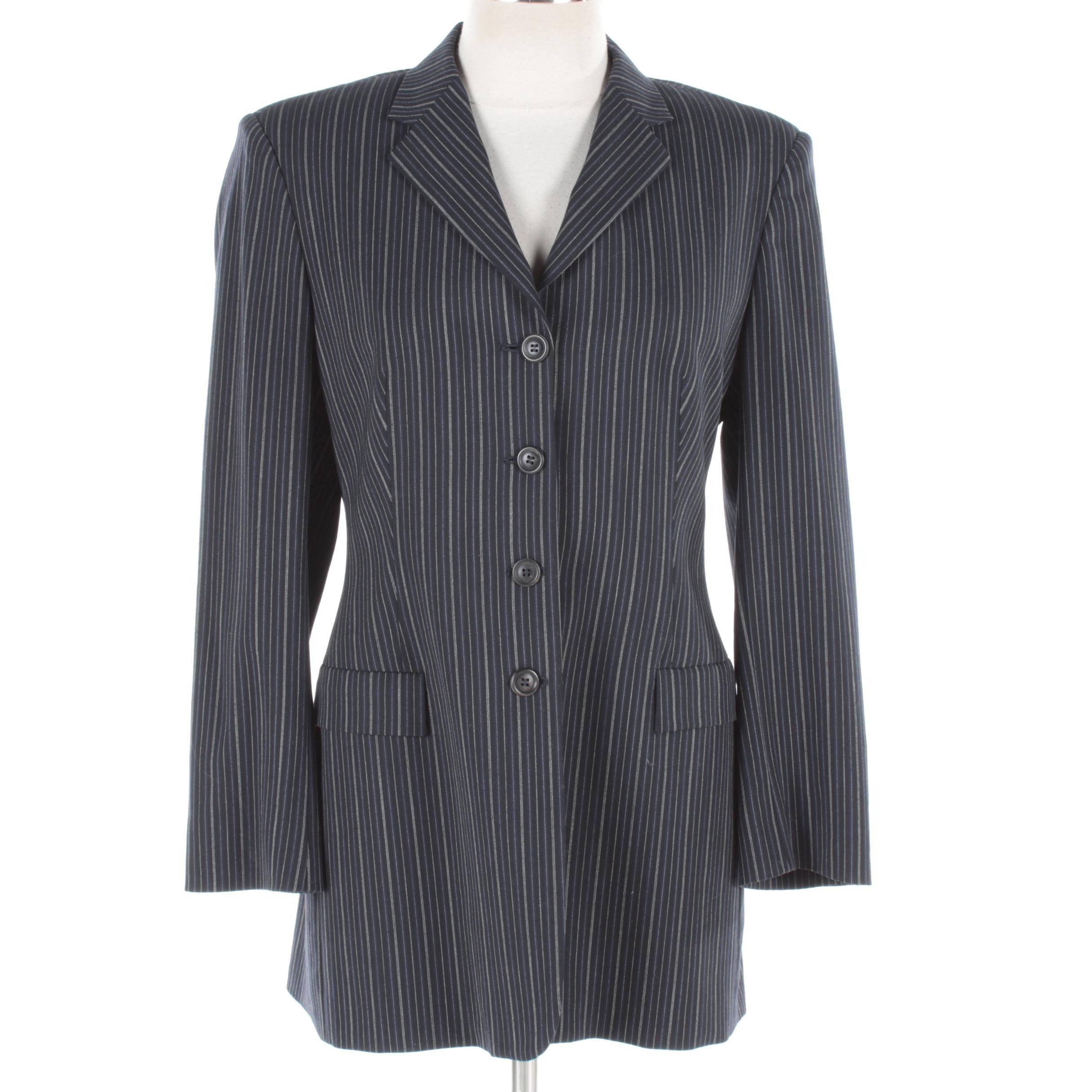 Women's Piazza Sempione Single-Breasted Navy Blue Striped Blazer