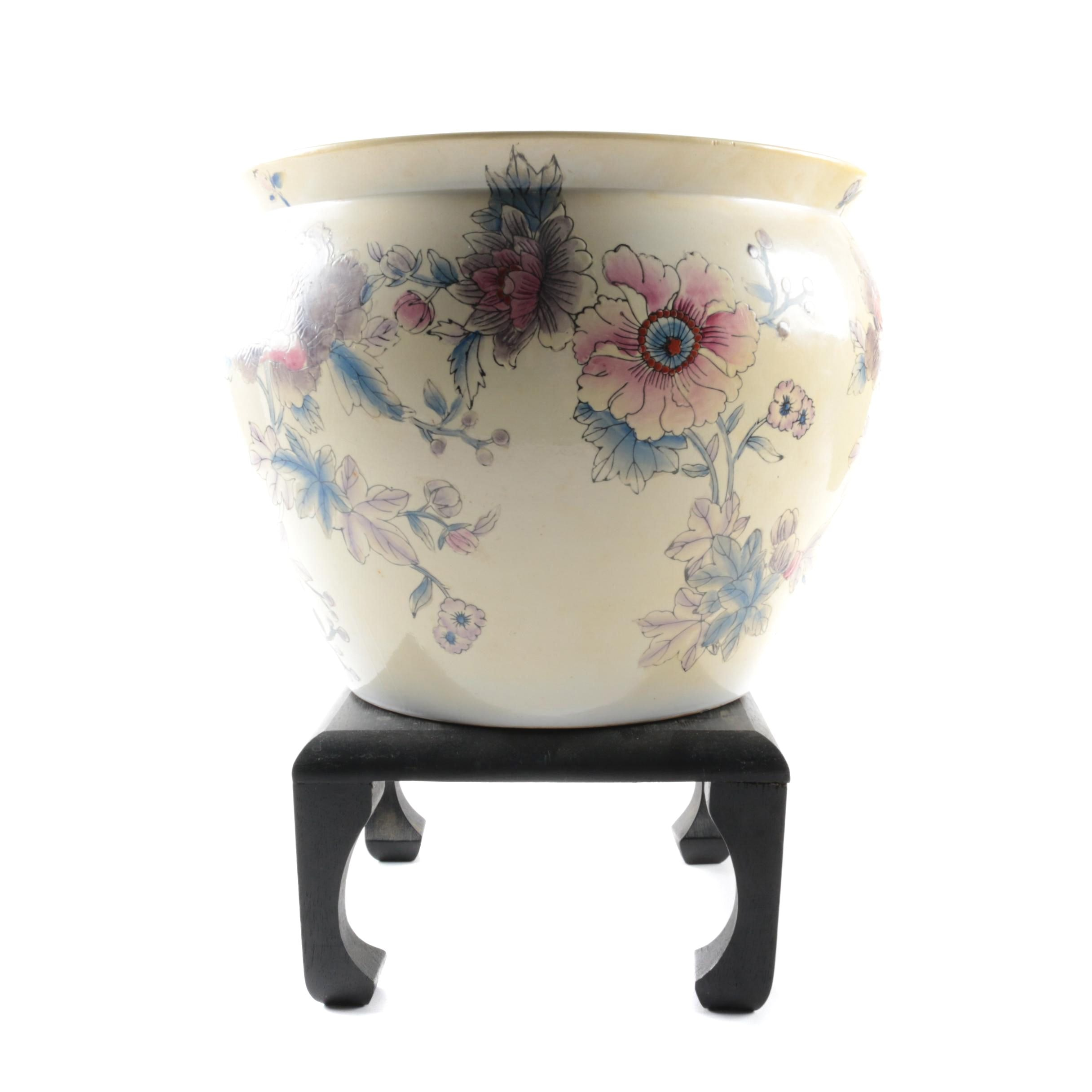 Floral Ceramic Planter with Stand
