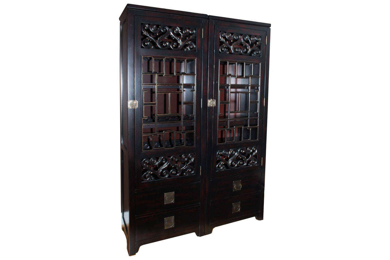 Thomasville Asian Style Wine and China Cabinets