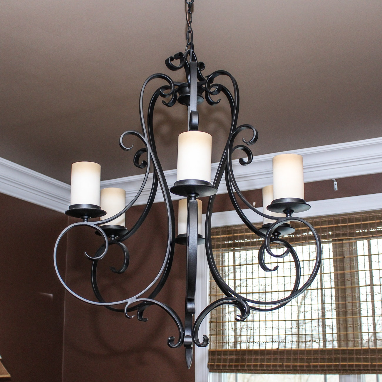 Iron and Glass Candelabra Chandelier