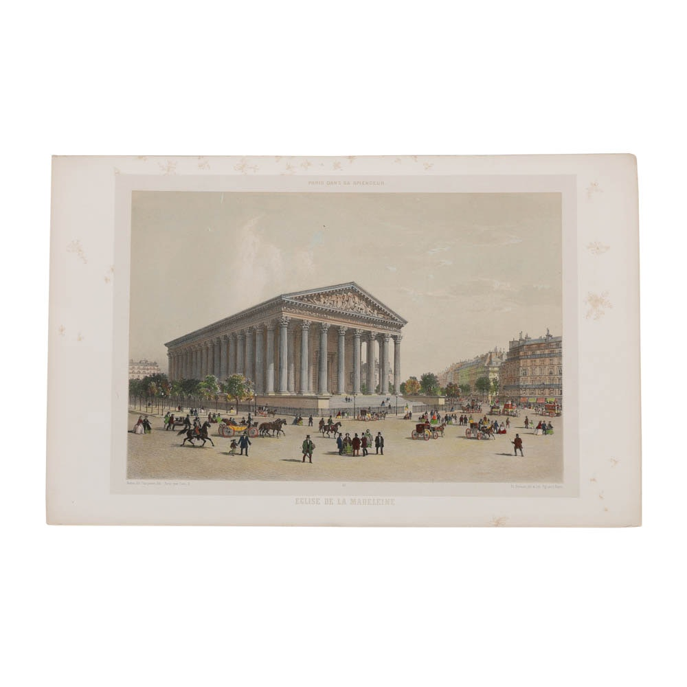 """Lithograph on Paper After Henri Charpentier """"Église De La Madeleine """""""