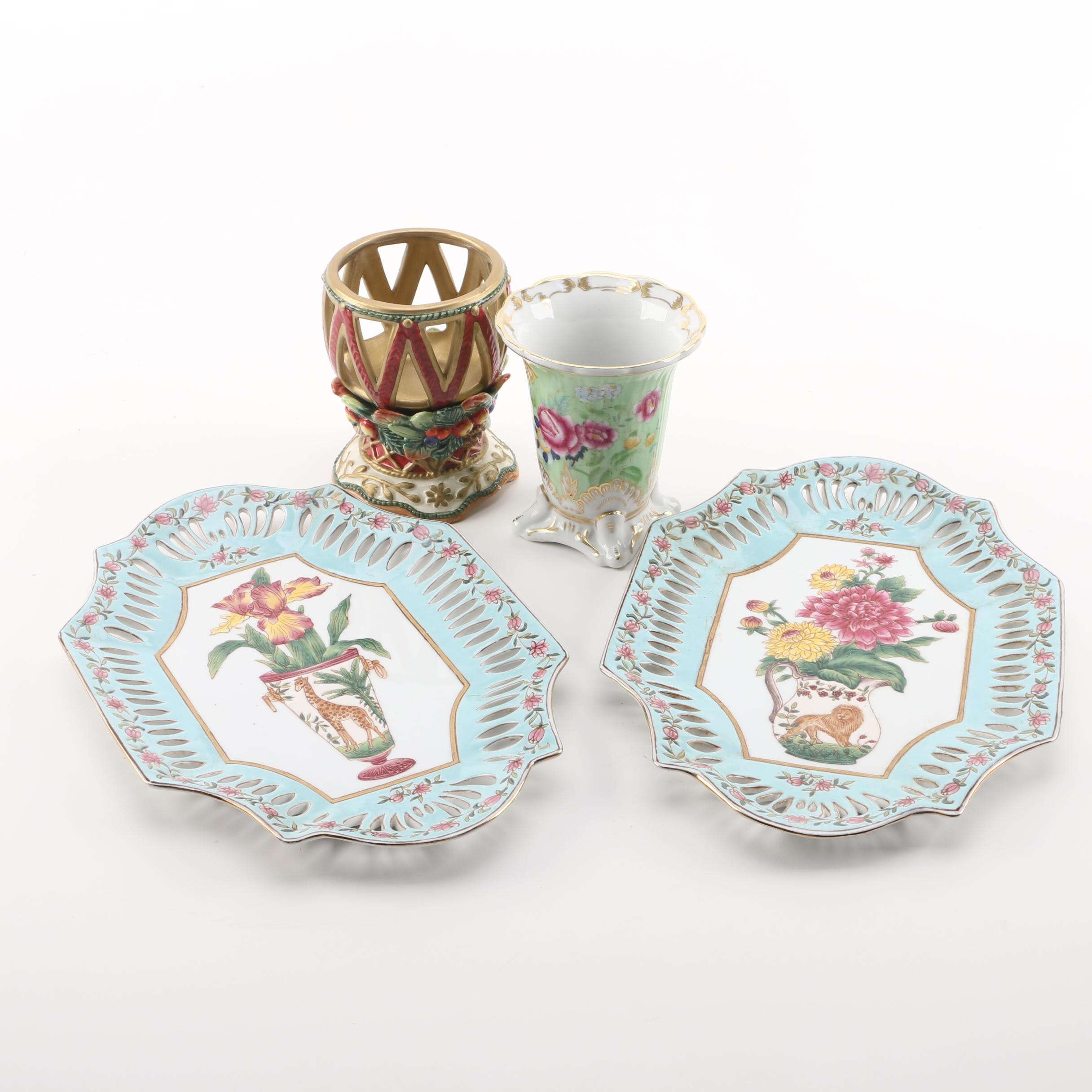 Decorative Ceramic Vases and Trays Including Fitz and Floyd