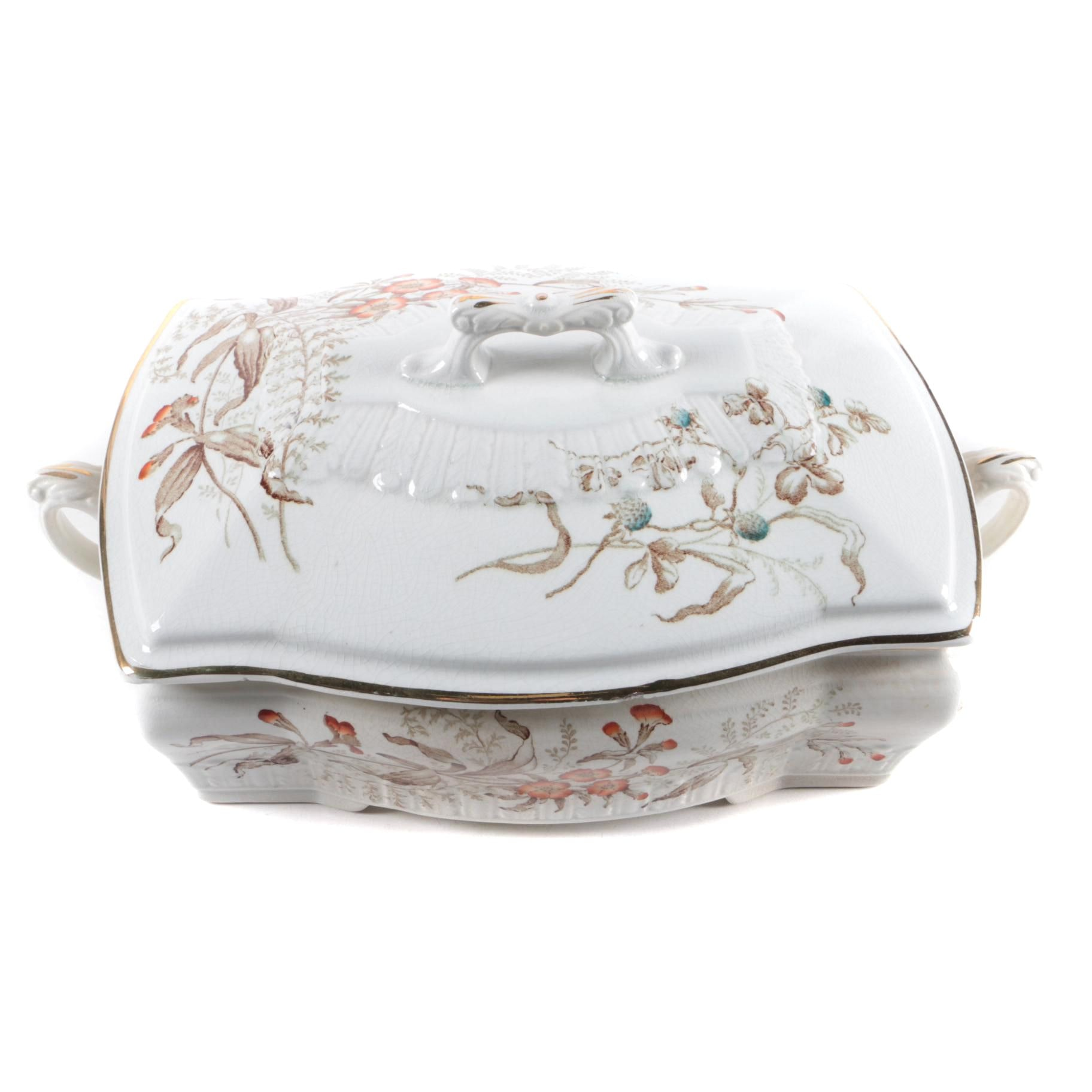 1887 Edwards Brothers English Transferware Covered Serving Dish