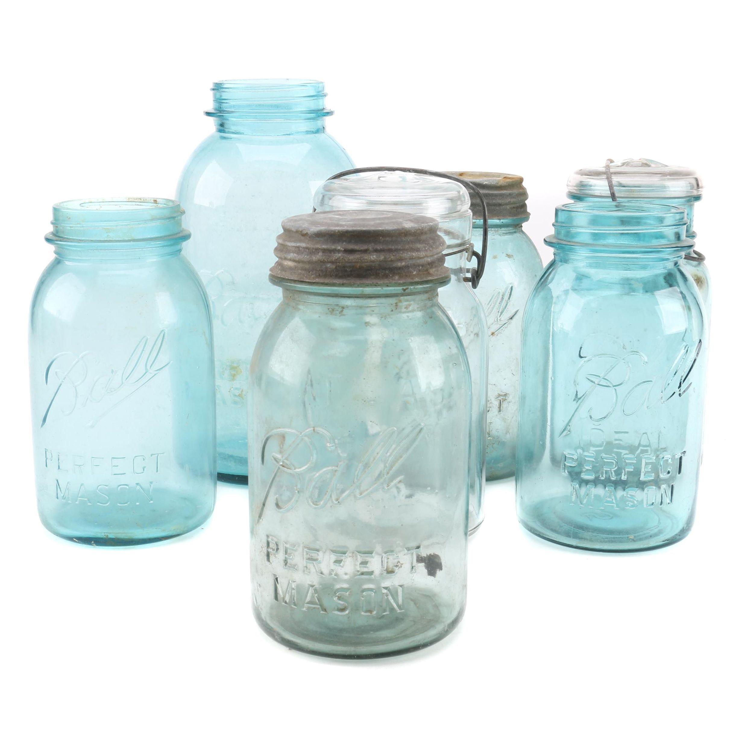 Collection of Blue Mason Jars