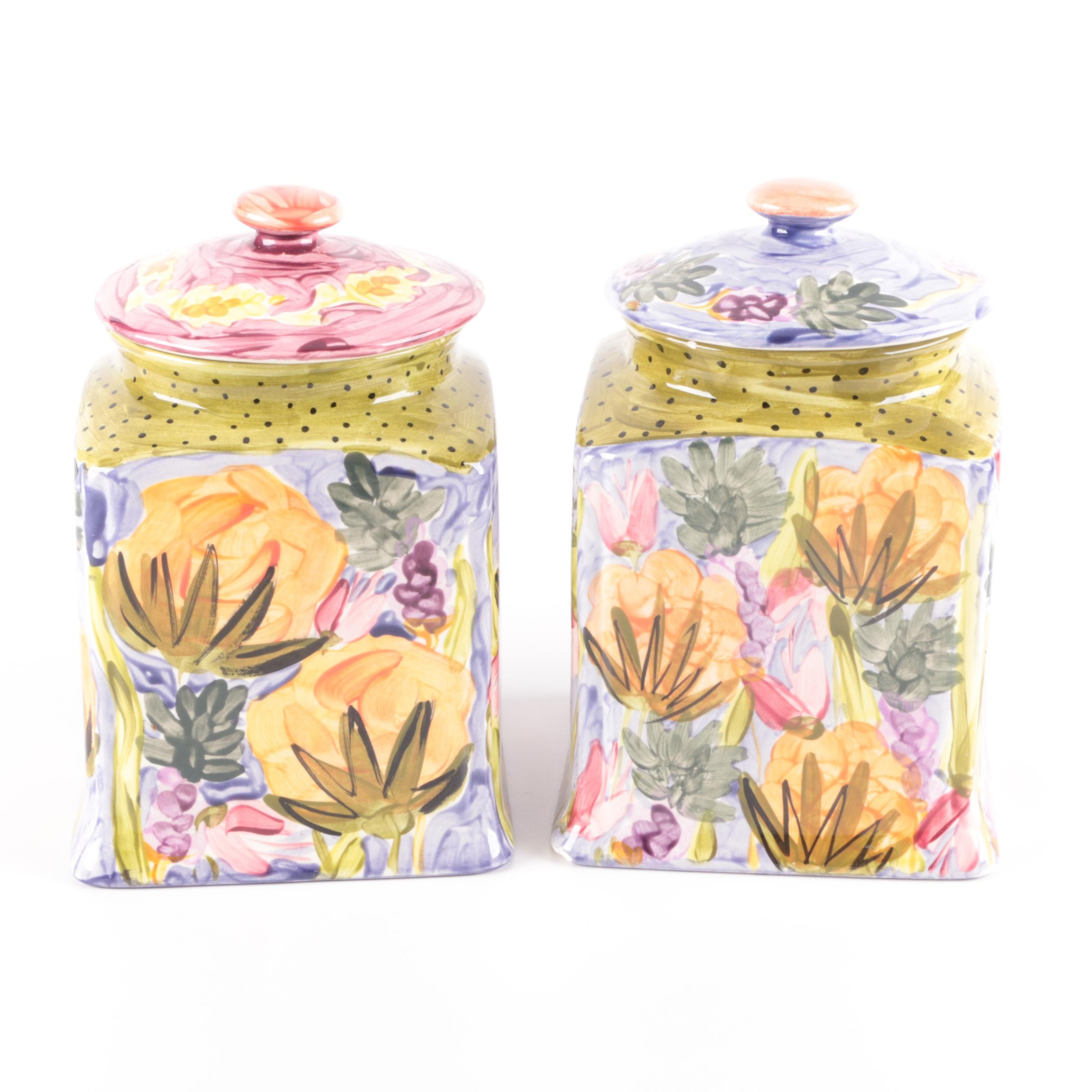 Fiasco Adams Hand Painted Ceramic Canisters