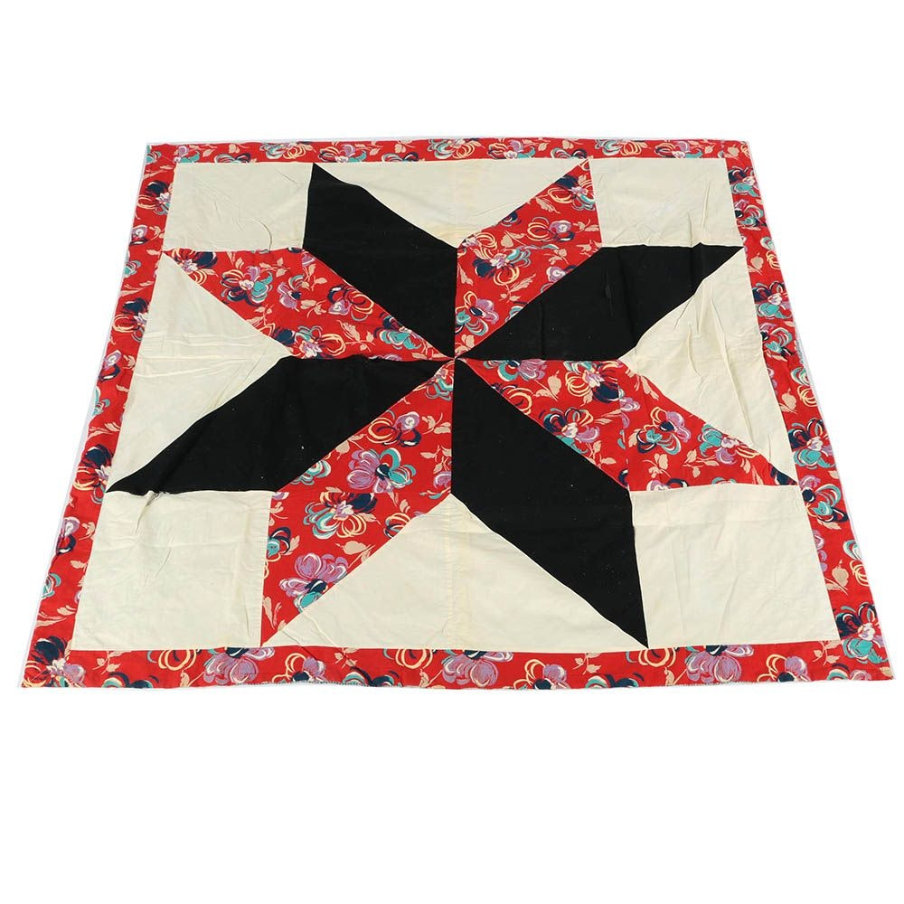 "Vintage Machine Sewn ""Eight Point Star"" Quilt"