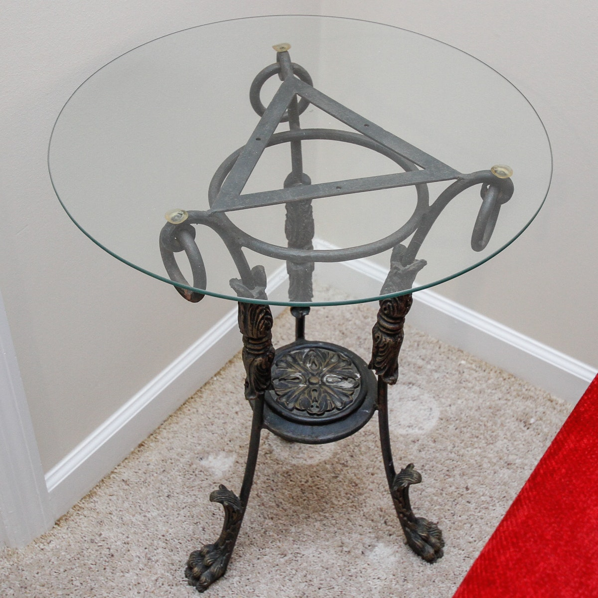 Wrought Style and Glass Side Table
