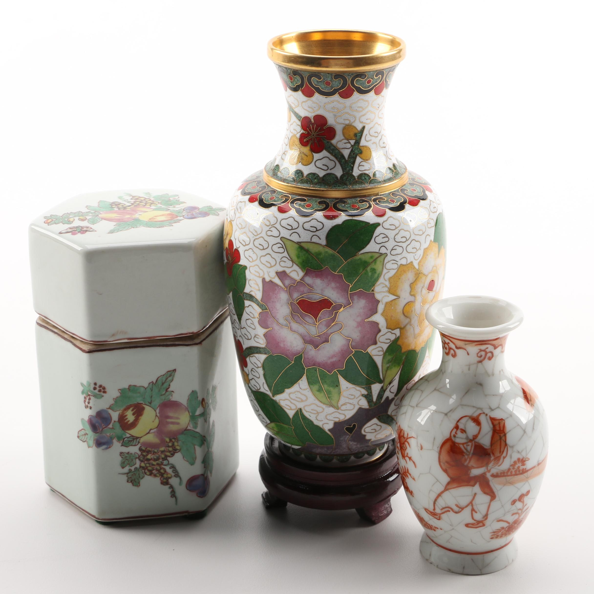 Chinese Ceramic Vases and Vessels Including Cloisonné Vase