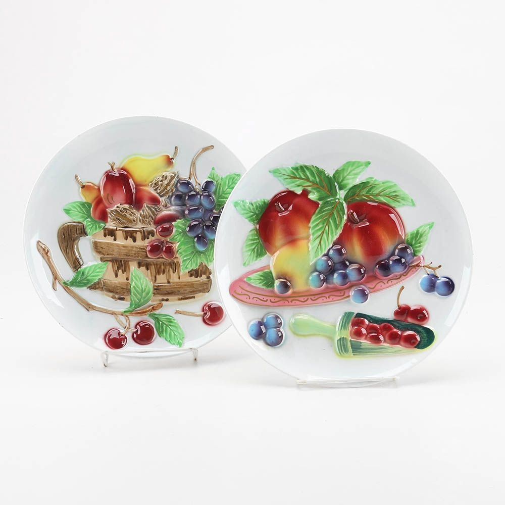 Hand-Painted Fruit Serving Plates