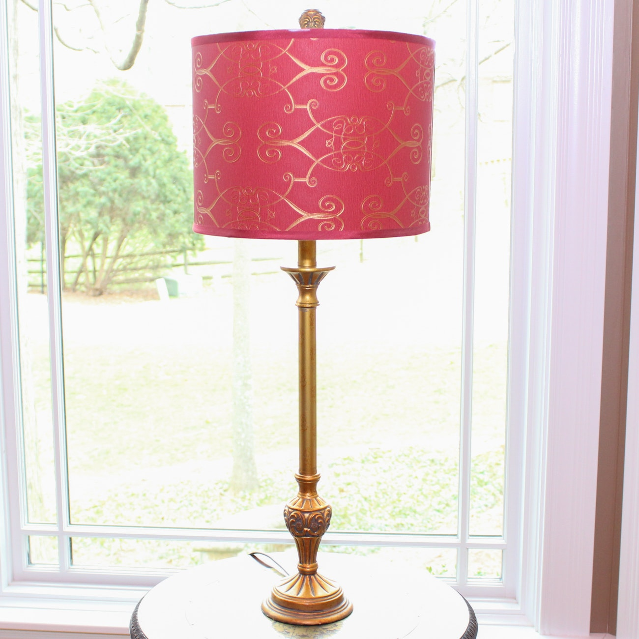 Gold Tone Carved Table Lamp