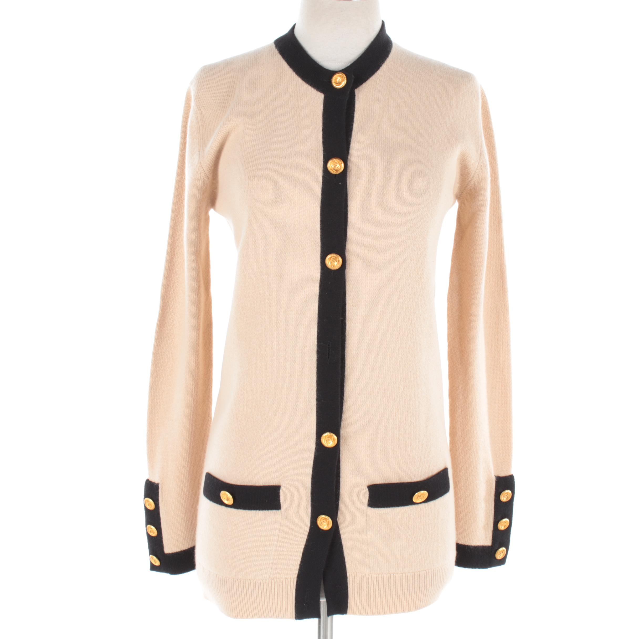 Chanel Beige Cardigan with Black Trim