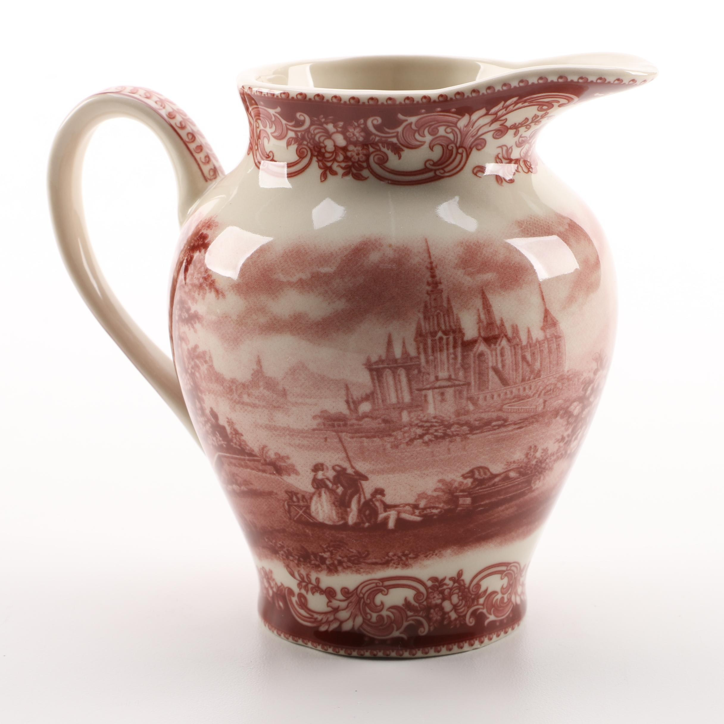 Madison Bay Co. Red Porcelain Pitcher