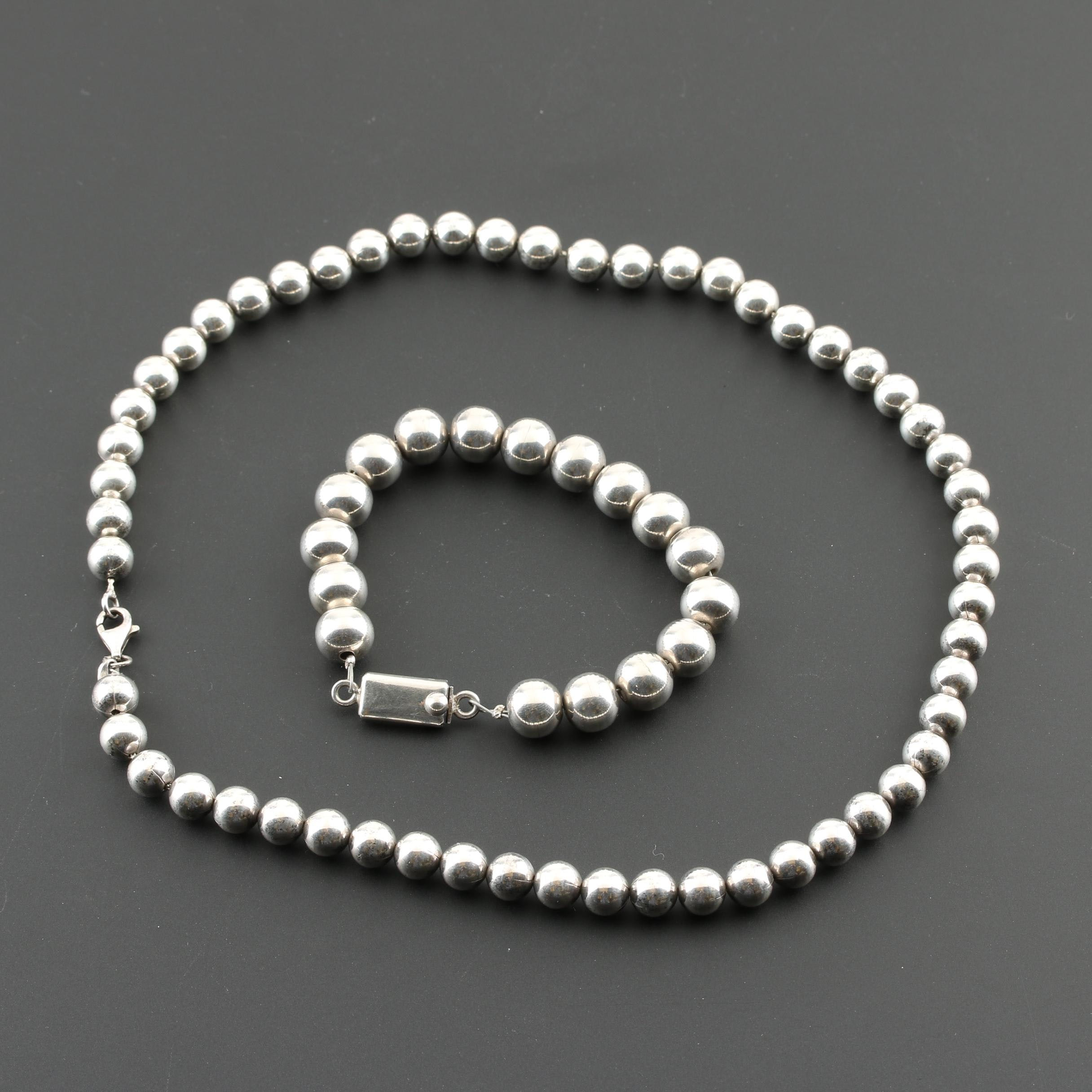 Sterling Silver Beaded Necklace and Bracelet