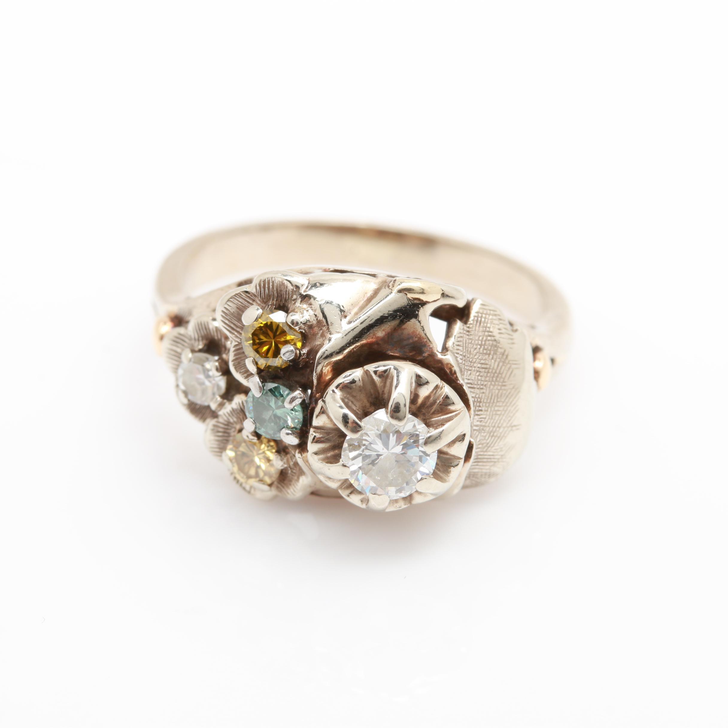 14K White Gold Fancy Diamond Ring