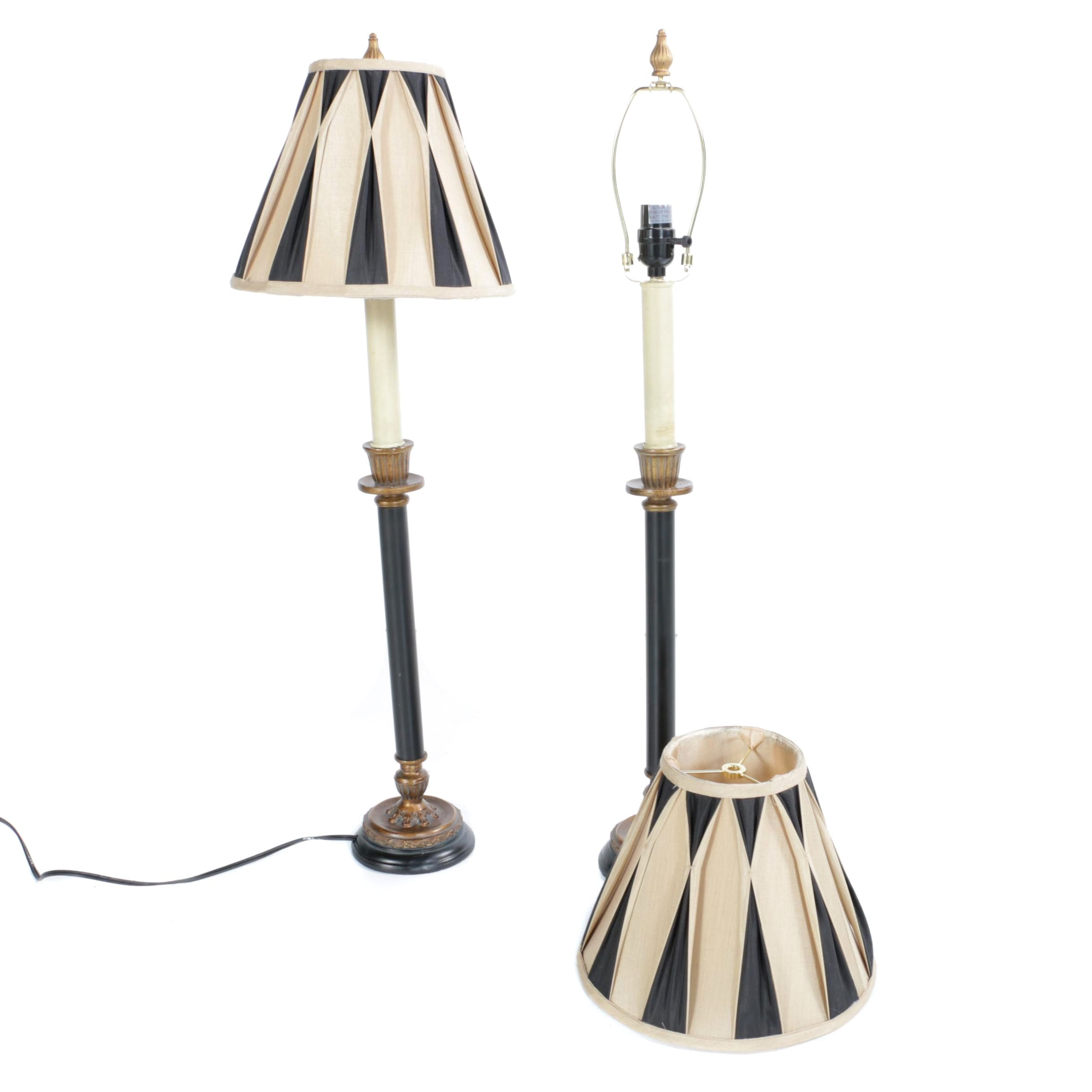 Black and Bronze Tone Candelstick Table Lamps