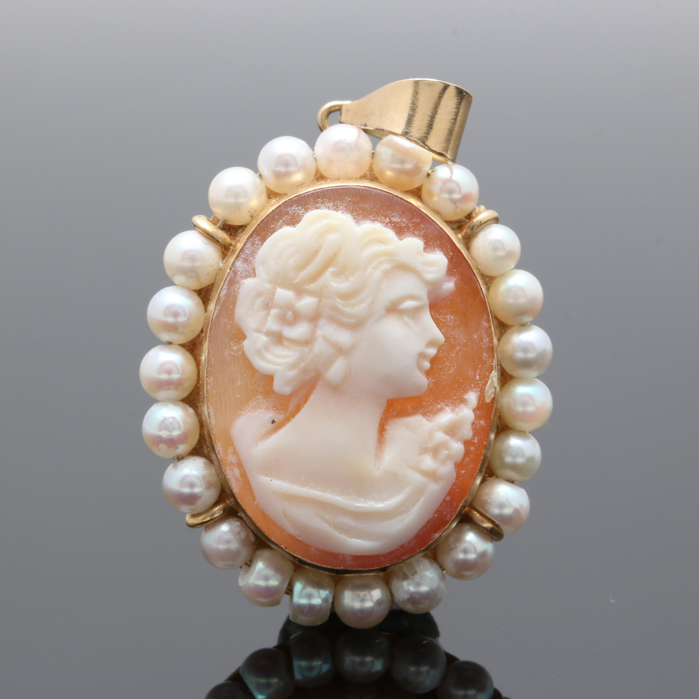 14K Yellow Gold Shell and Cultured Pearl Cameo Pendant