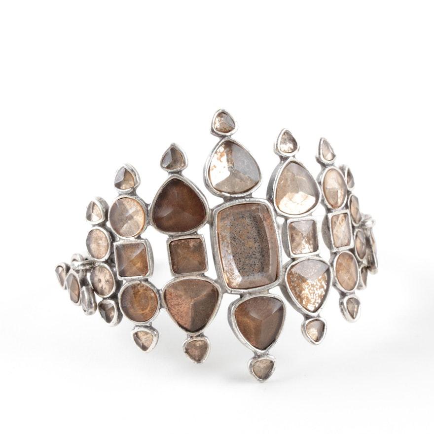 Yves Saint Laurent Sterling Silver Foilbacked Glass Cuff Bracelet