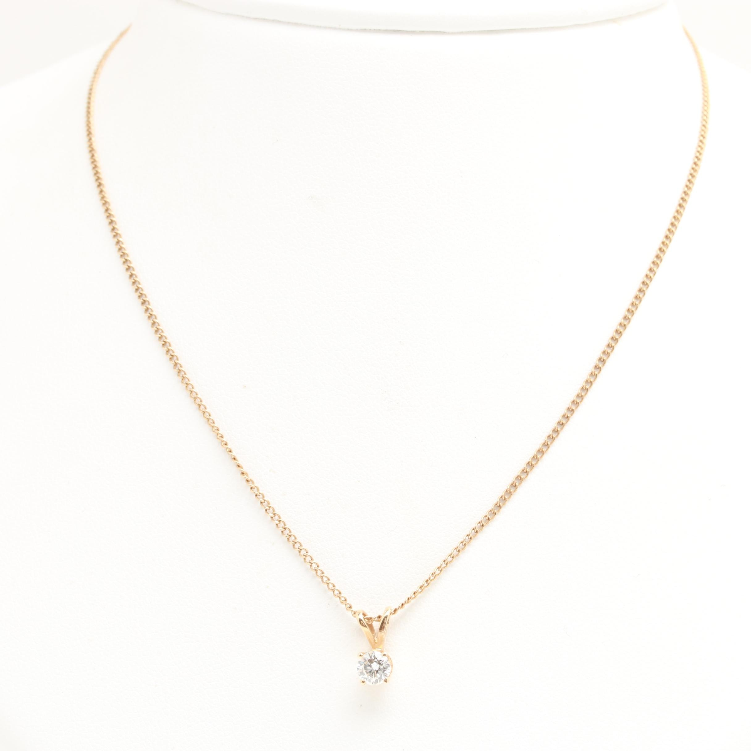 10K and 14K Yellow Gold Diamond Pendant Necklace