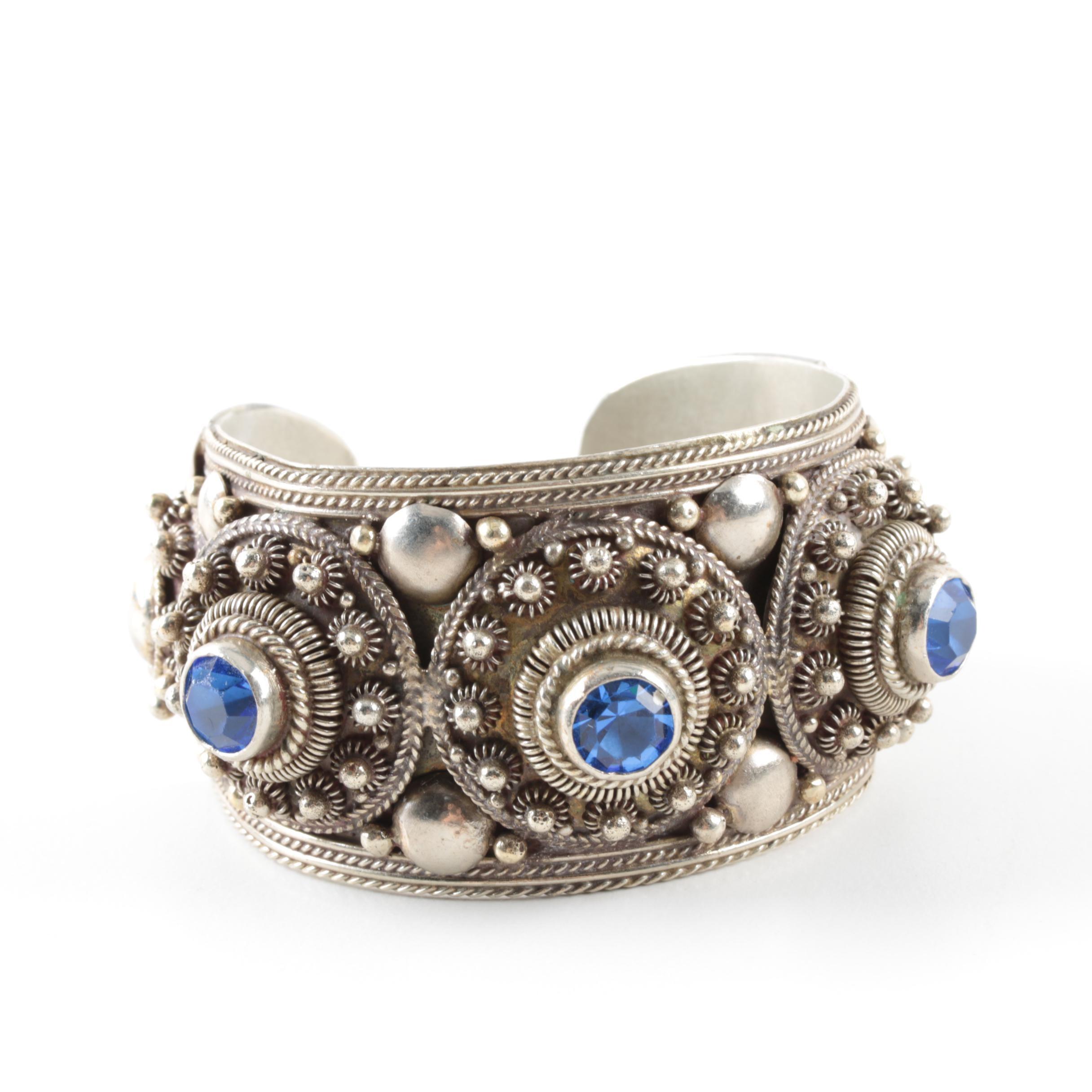 Thai Sterling Silver Blue Glass Cuff Bracelet