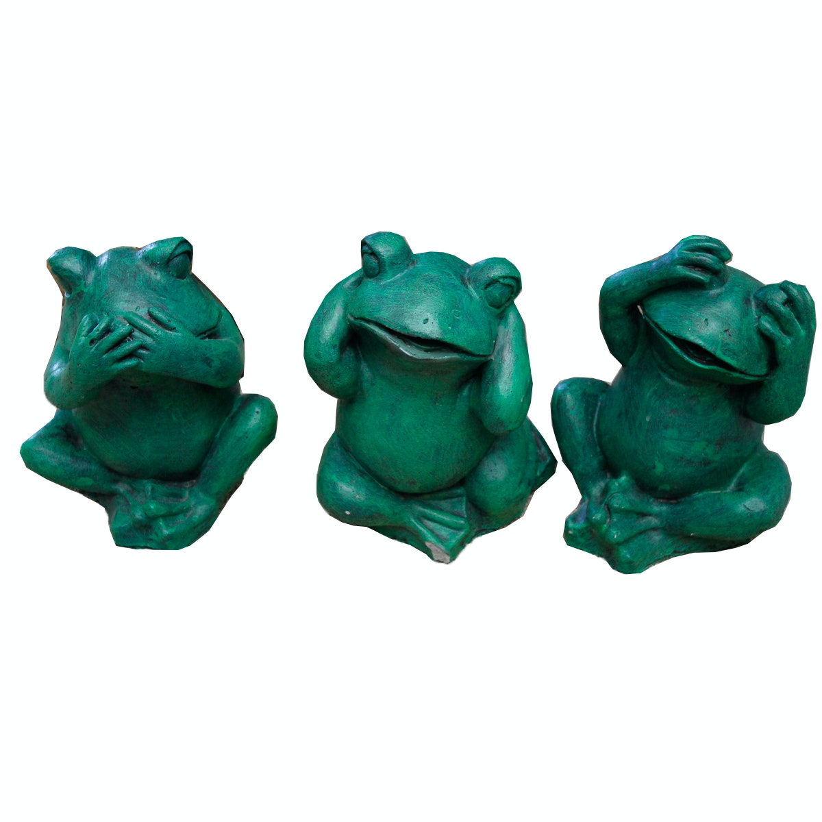 """See No Evil"" Green Painted Concrete Frog Figurines"