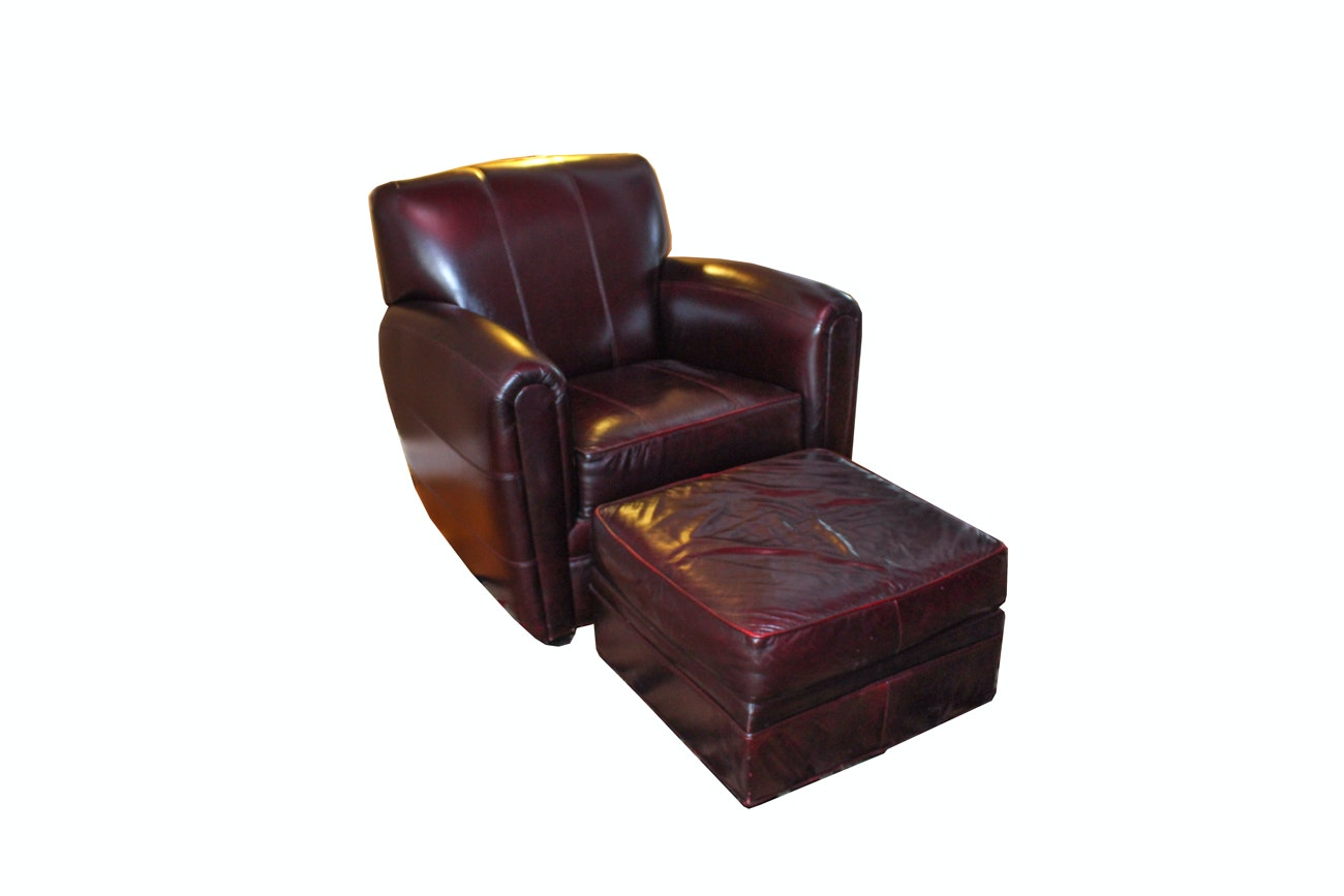Fairfield Leather Armchair and Ottoman