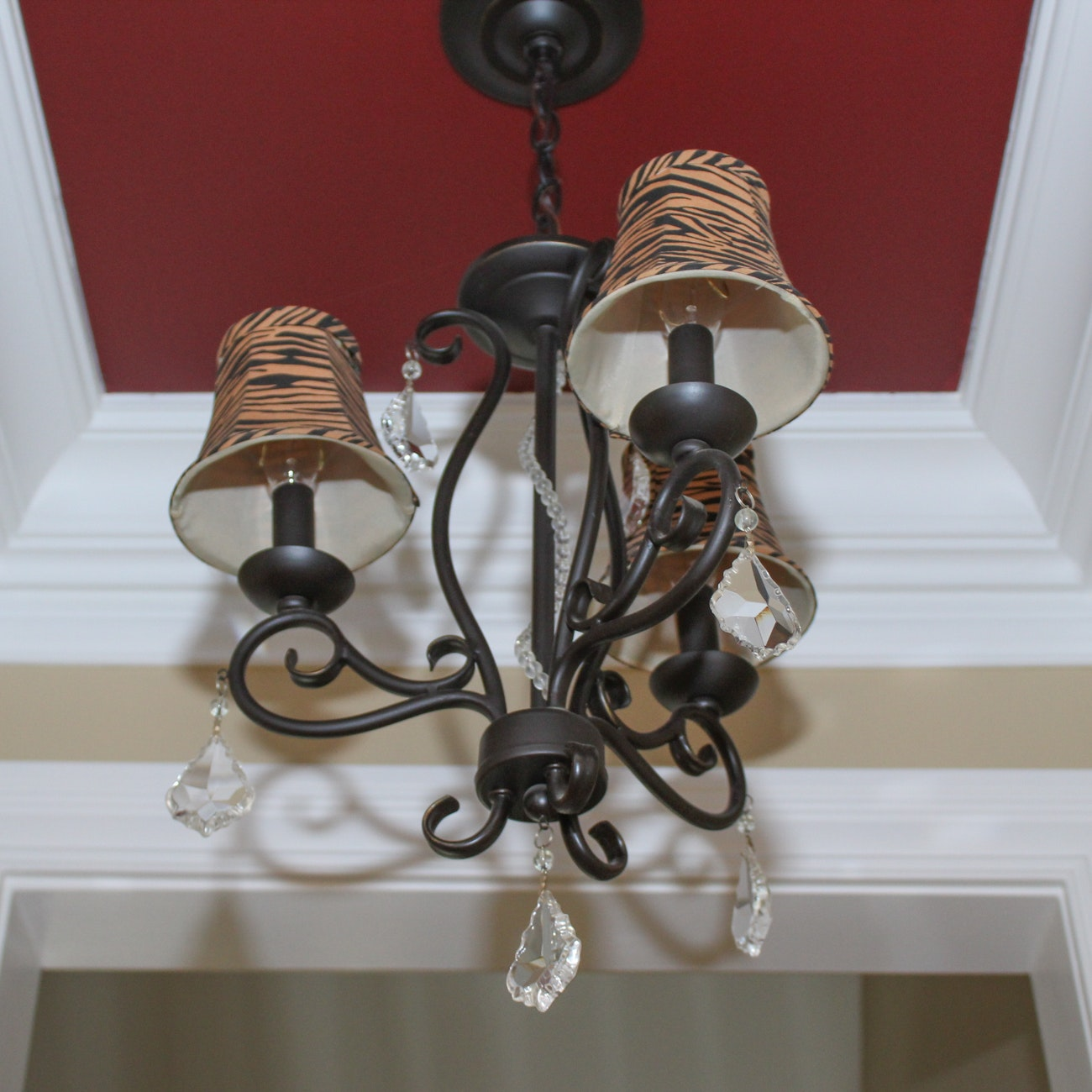 Painted Bronze Chandelier with Crystal