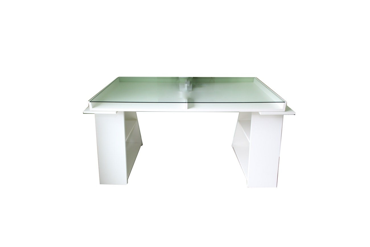 Contemporary White Desk with Glass