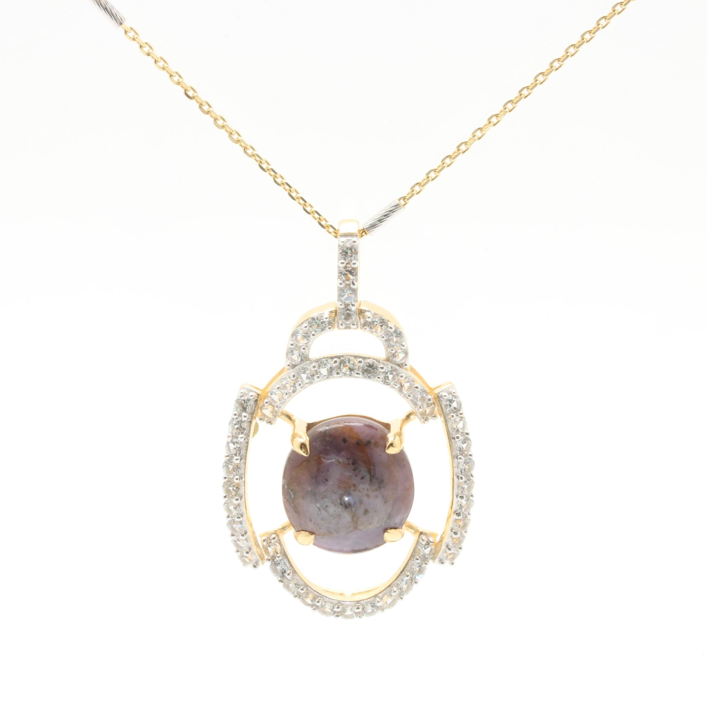 Gold Wash on Sterling Silver Star Corundum and White Topaz Necklace