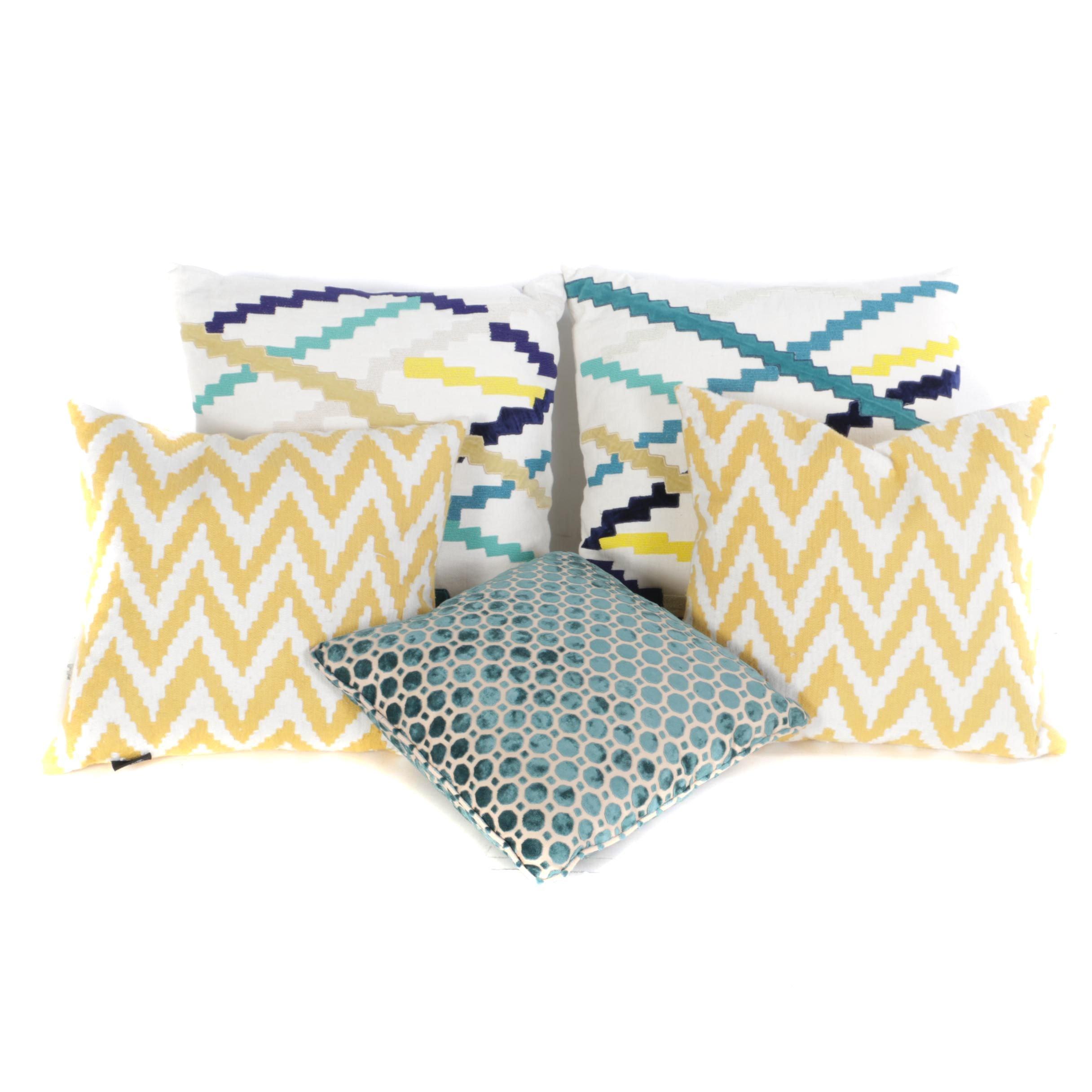 Five Pillows with Chevron and Circular Motifs