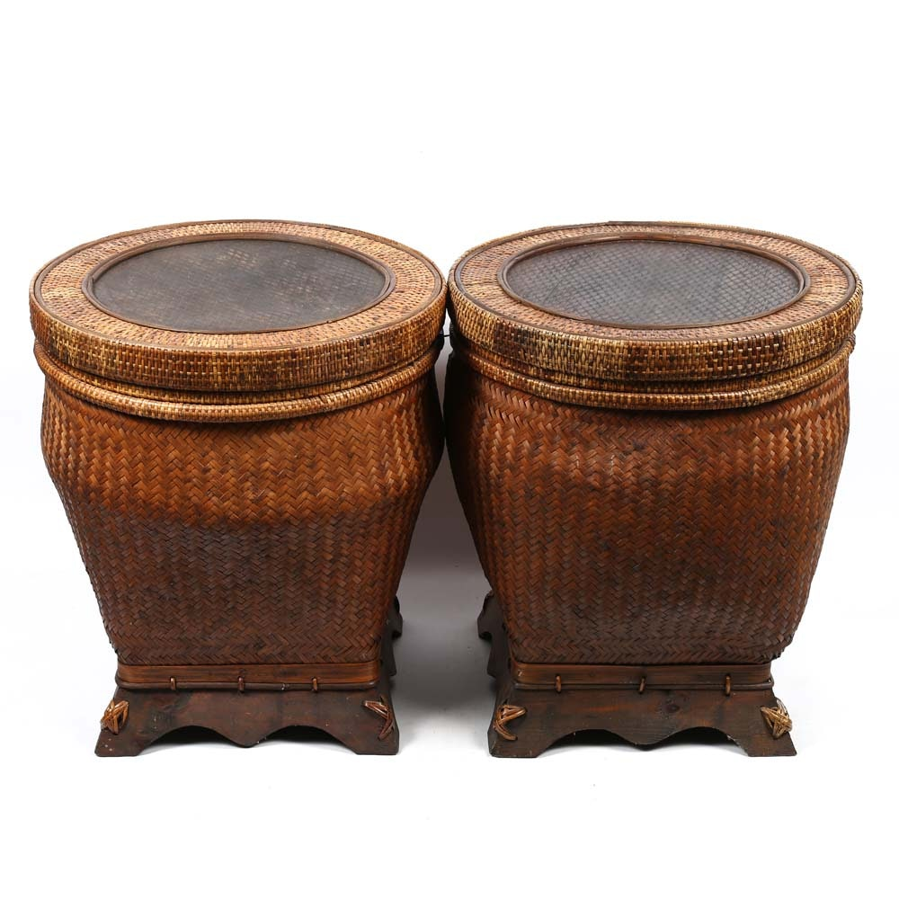 Pair of Large Rattan Baskets