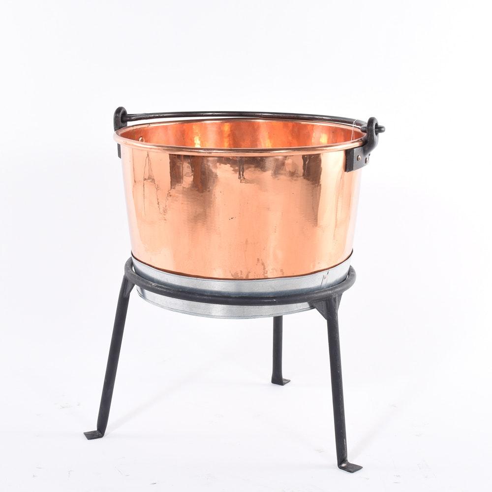 Copper Cauldron with Three Legged Wrought Iron Stand
